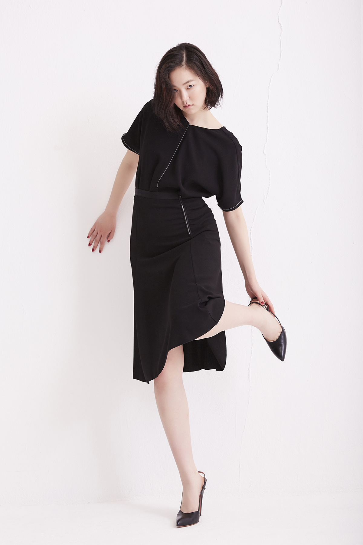 [50% OFF] Black Flared Skirt with Shirring Zip Detail