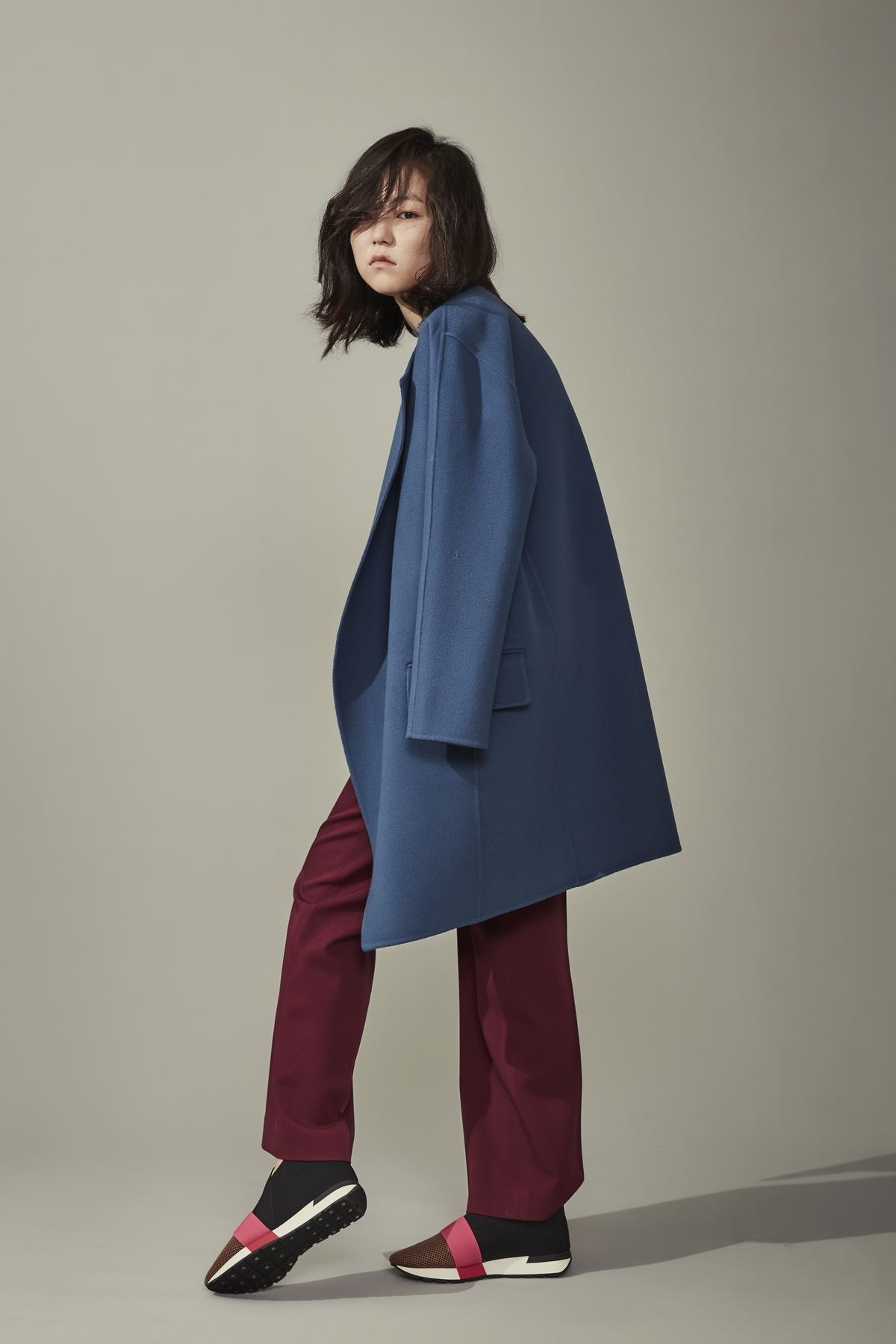 [50%OFF] Cashmere Wool Double Face Oversized Coat Sky Blue