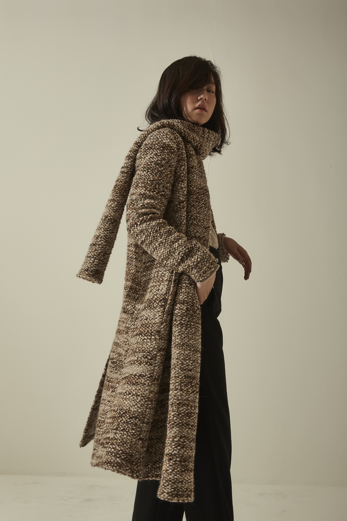 [OFF 50%] No Collar Knit Coat With Muffler