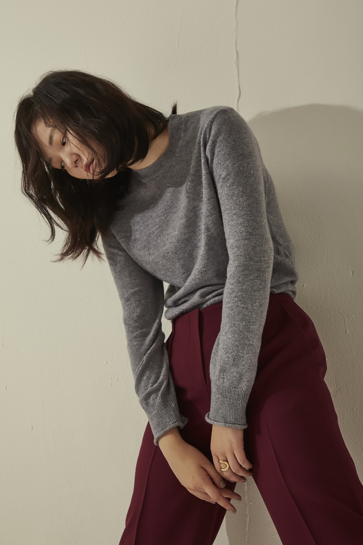 [50%OFF] Cashmere Basic Style Knit Pullover Light Grey