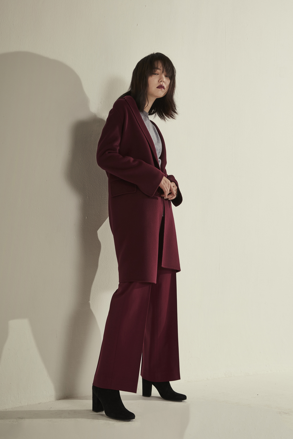 [OFF 50%] Cashmere Wool Double Face Coat Berry