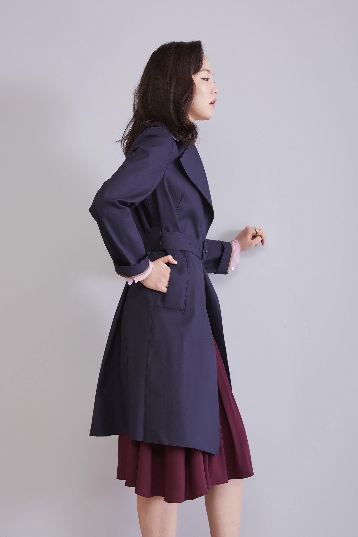 [OFF 50%] Mackintosh Bi-Color Coat Dark Navy-Sky Blue