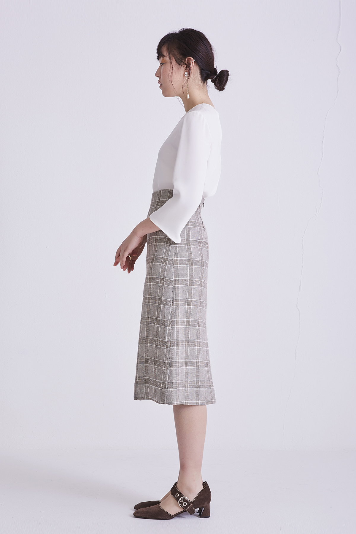 [50%OFF] A-Line Check Linen Midi Skirt