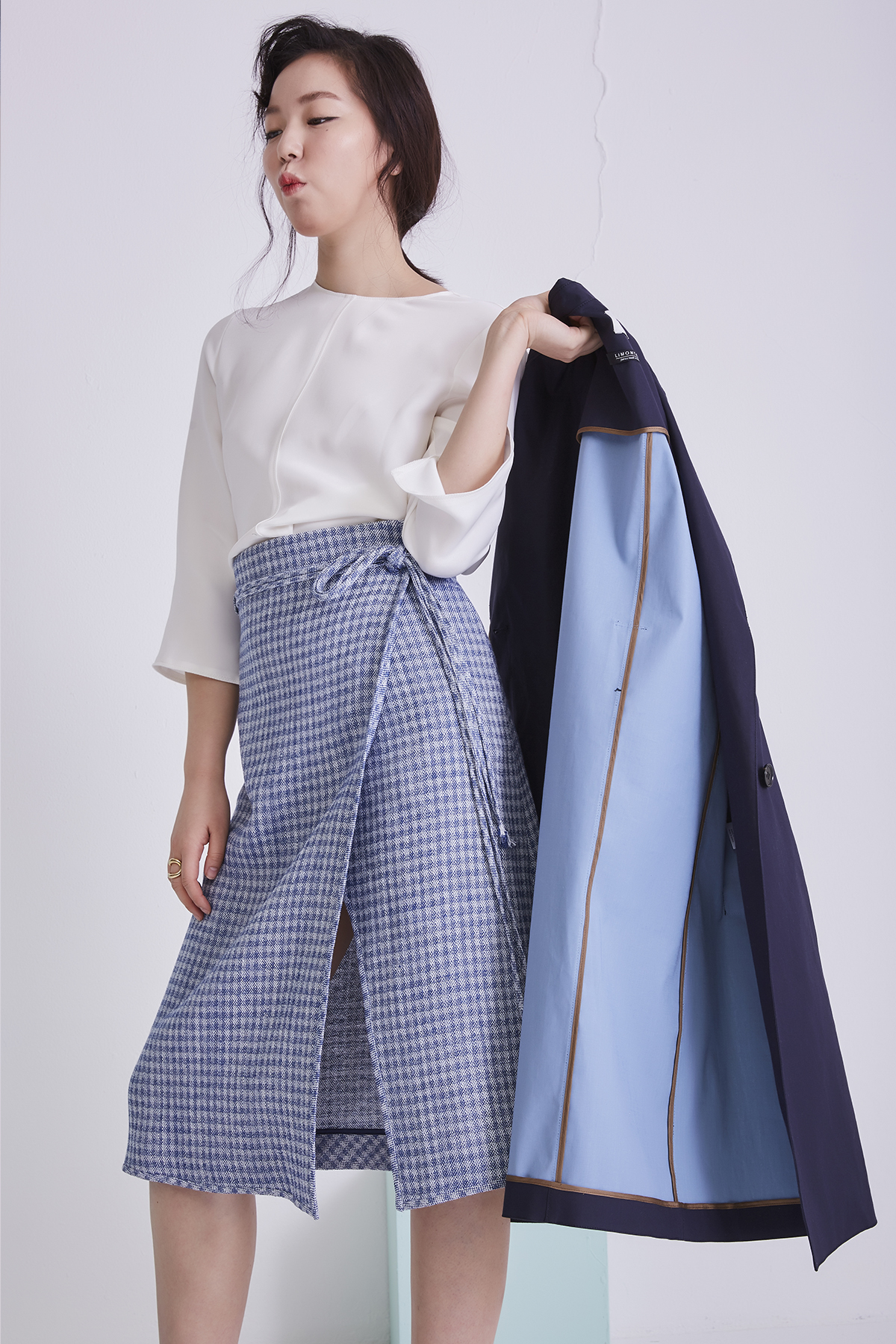 [50%OFF] Placid Check Blue Wrap Skirt