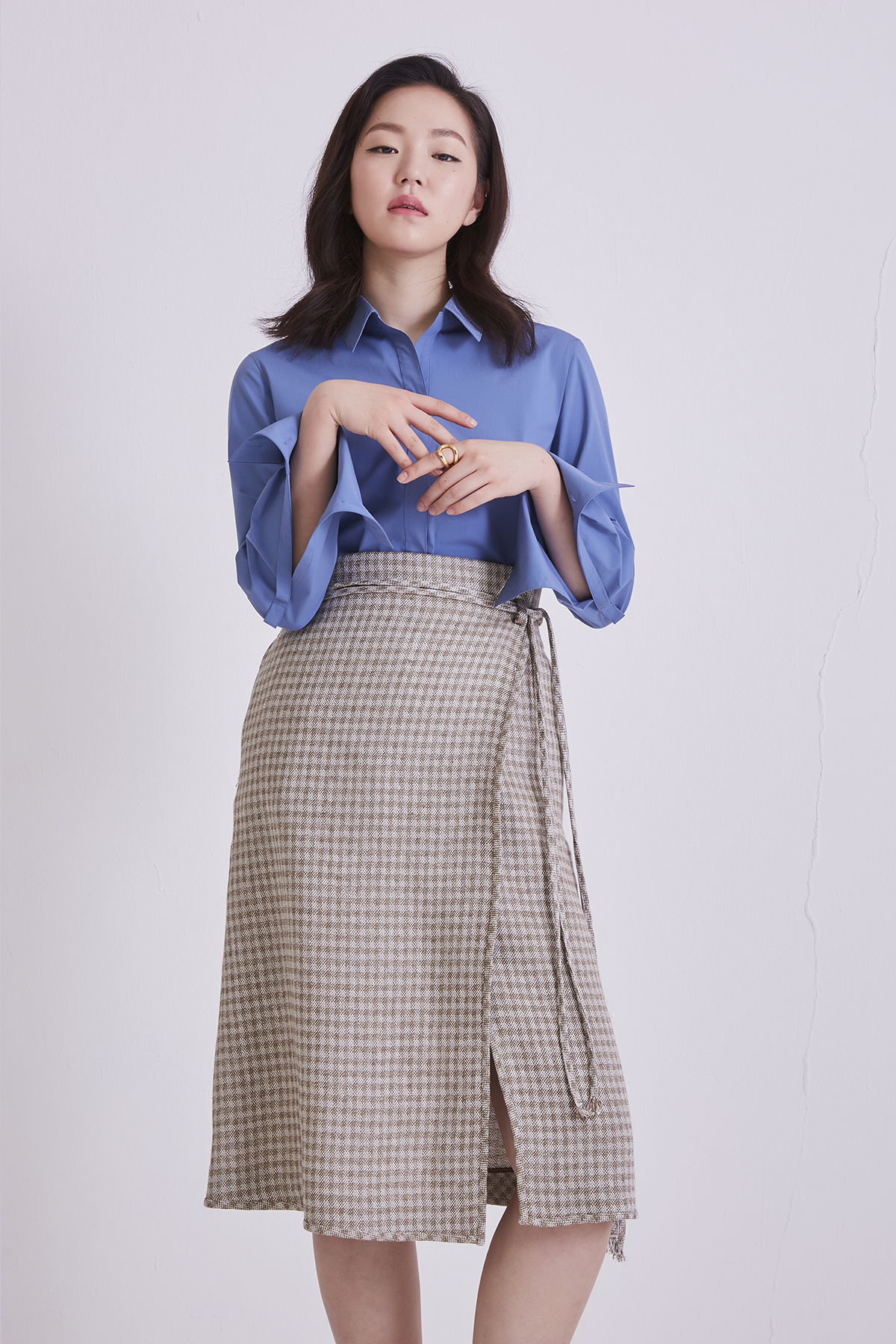 [50%OFF] Placid Check Khaki Wrap Skirt