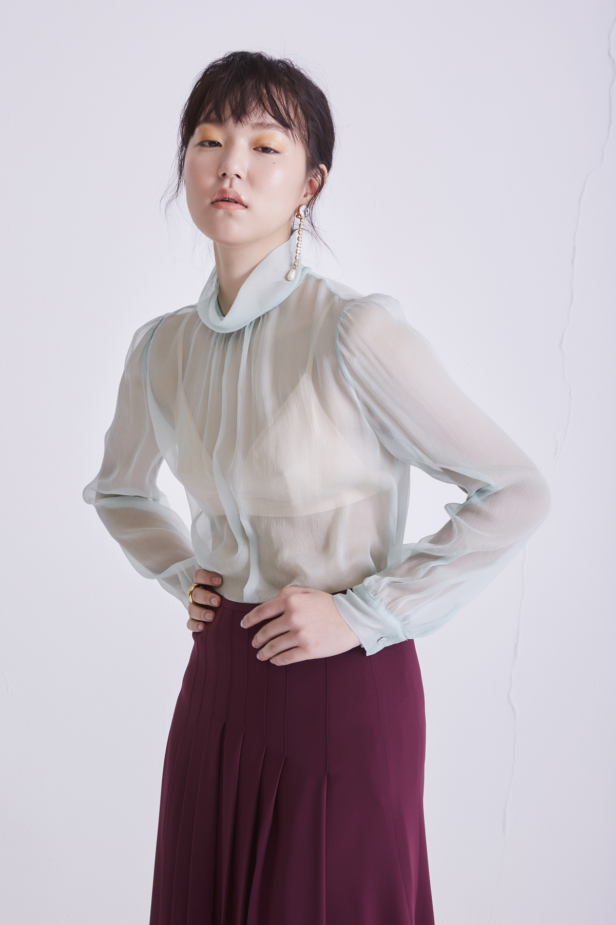 [50%OFF] Chiffon Silk Blouse With Ribbon Mint