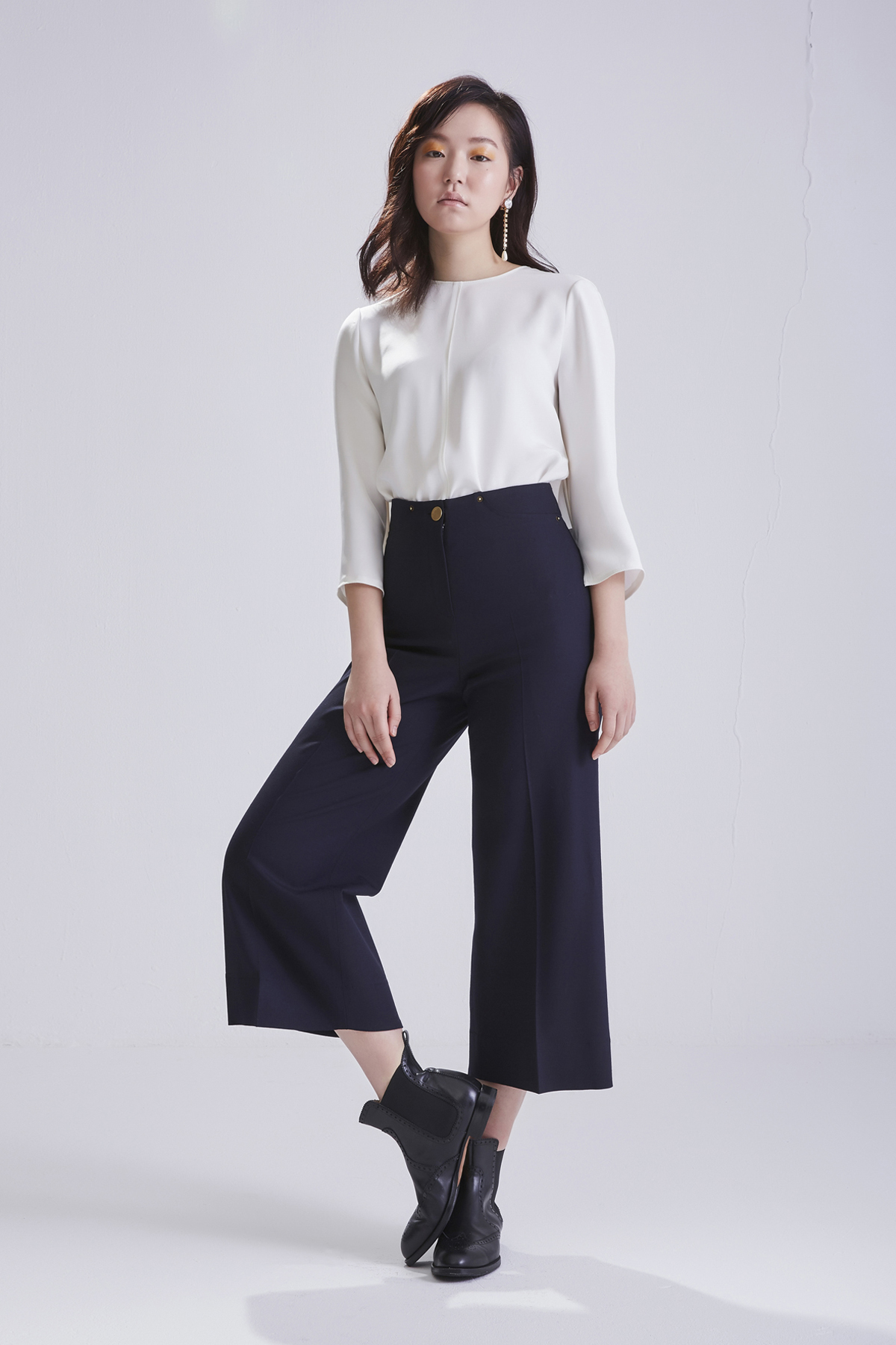 [50%OFF] High Waist Flared Dark Navy Trousers