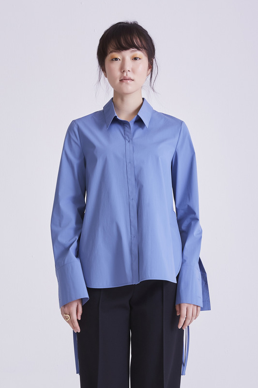 [50%OFF] Side Open Cotton Shirt Sky Blue