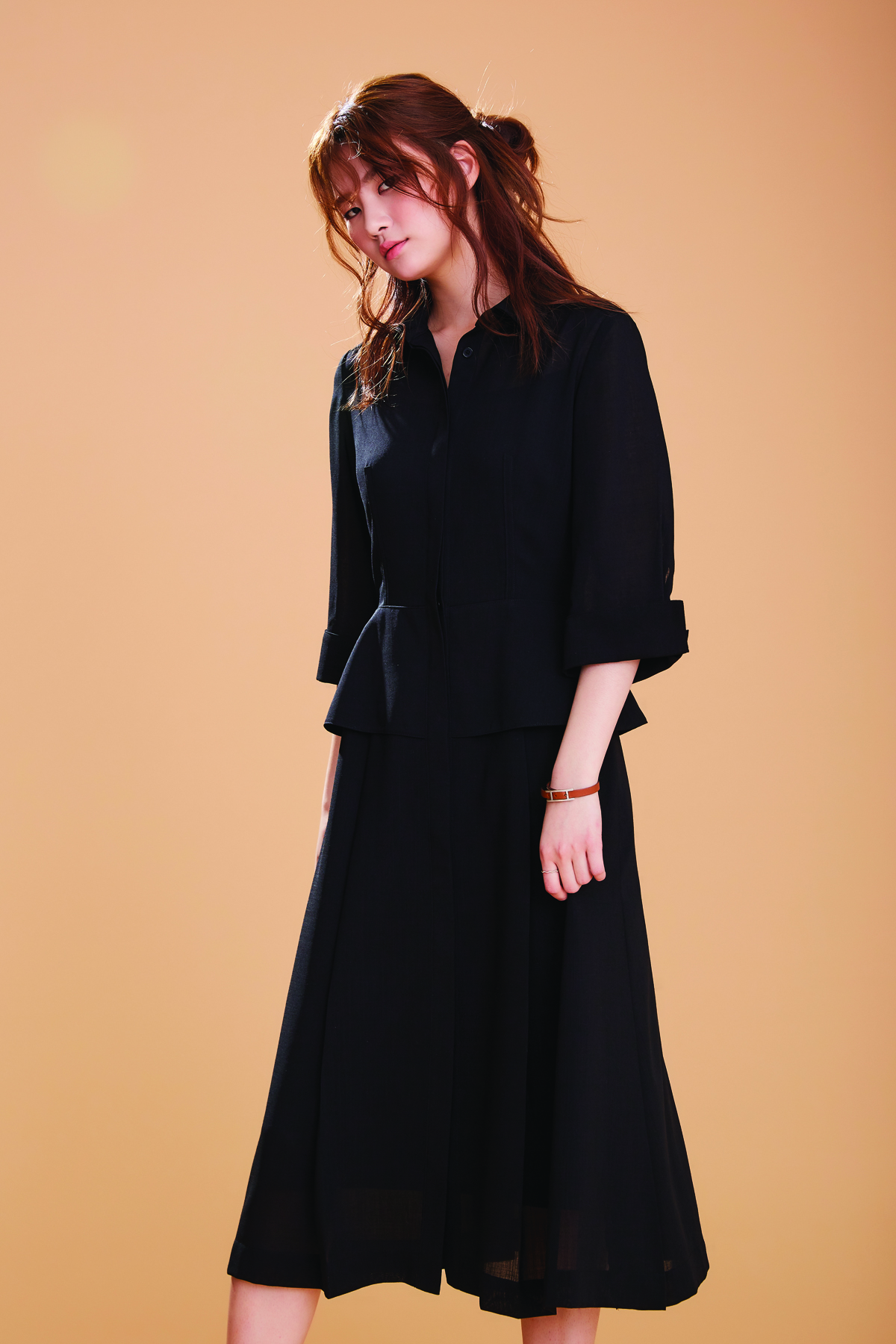 [50%OFF] Waisted Shirt Dress In Summer Wool Black