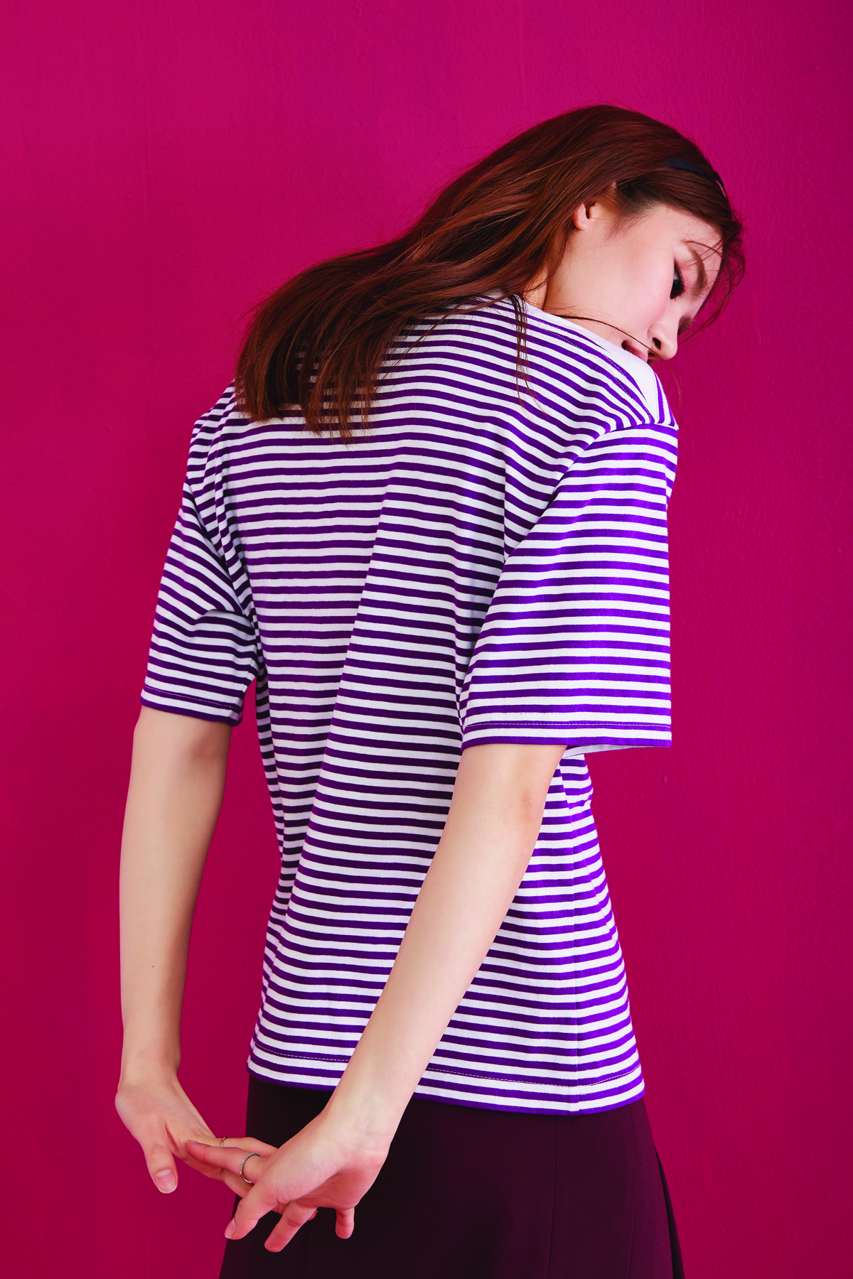 [50%OFF] Loose Fit Striped Crop T-Shirt Purple