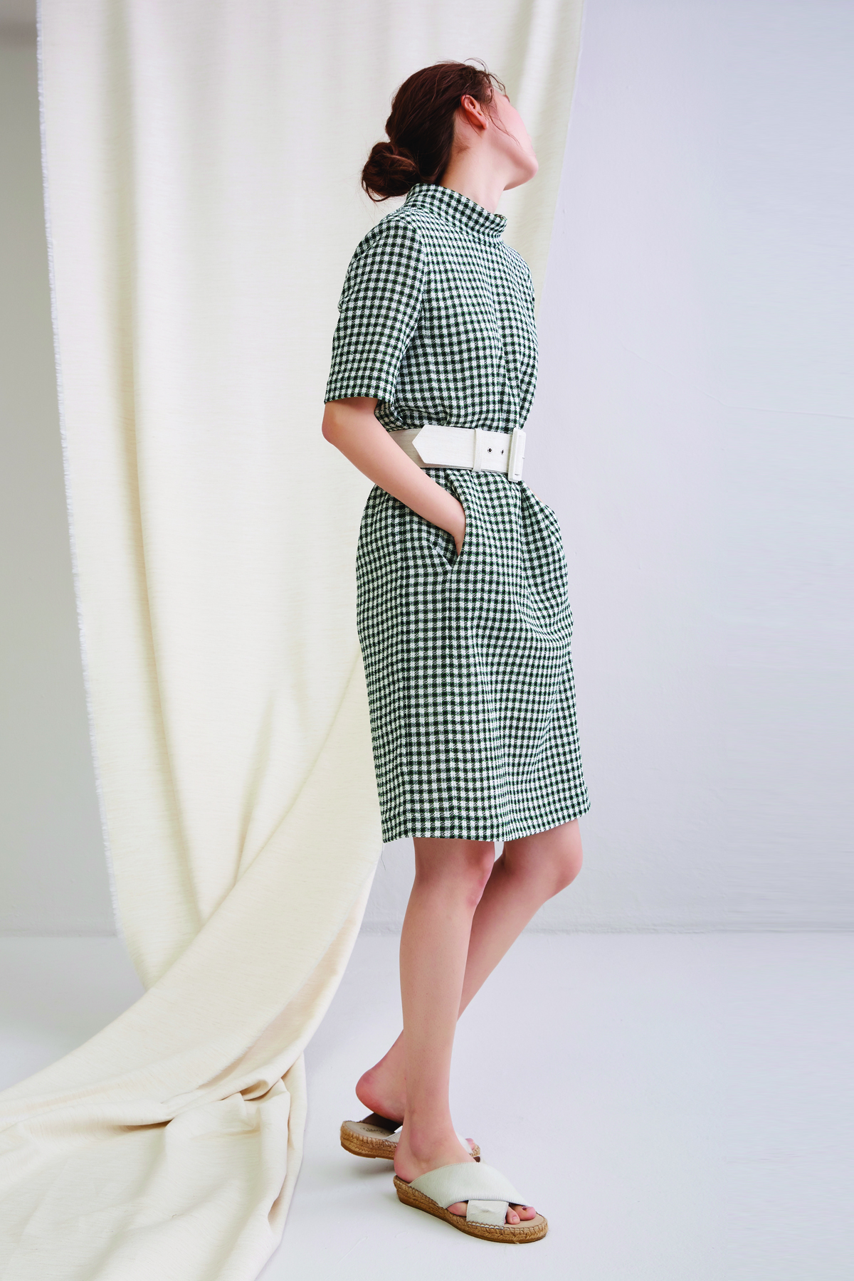 [50%OFF] High Neck Cocoon Check Dress Green