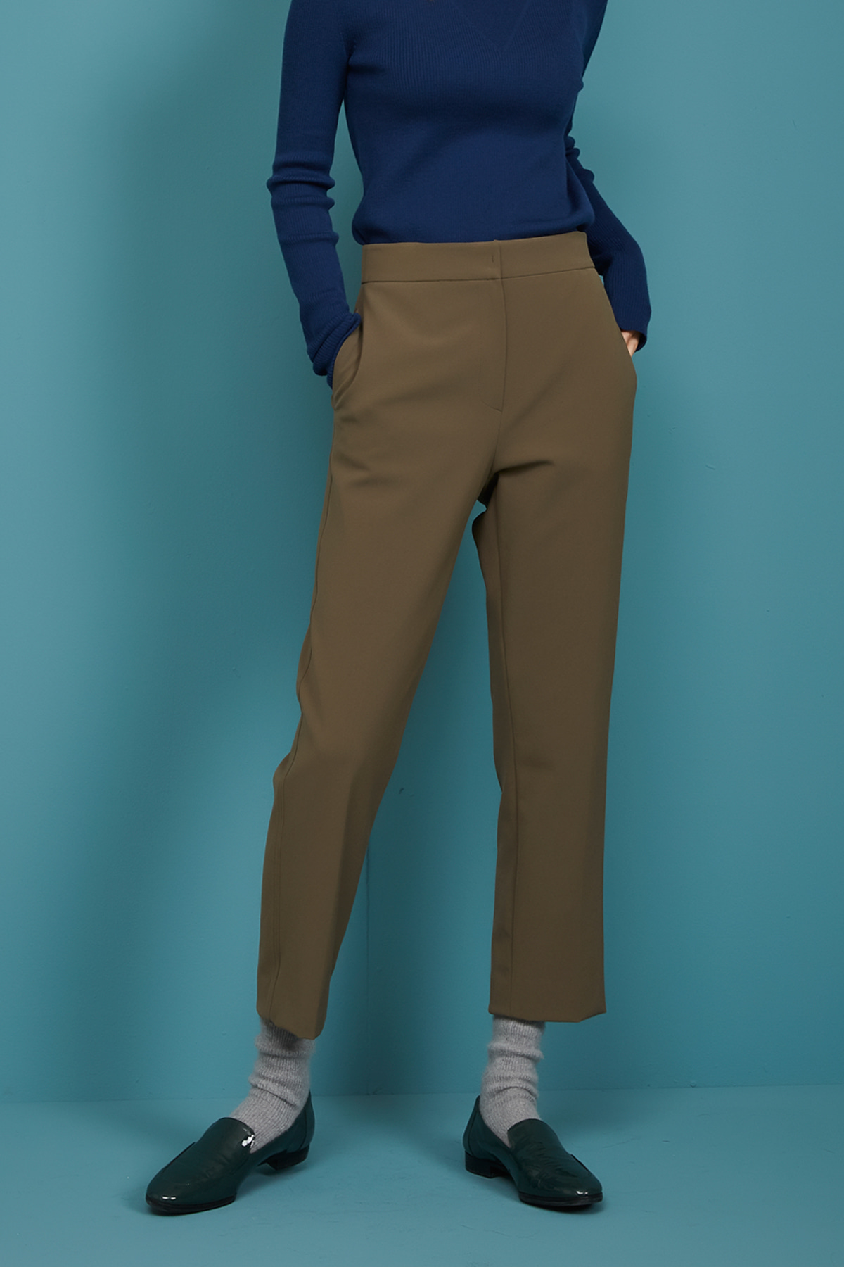 High Waist Taperd Trousers Khaki