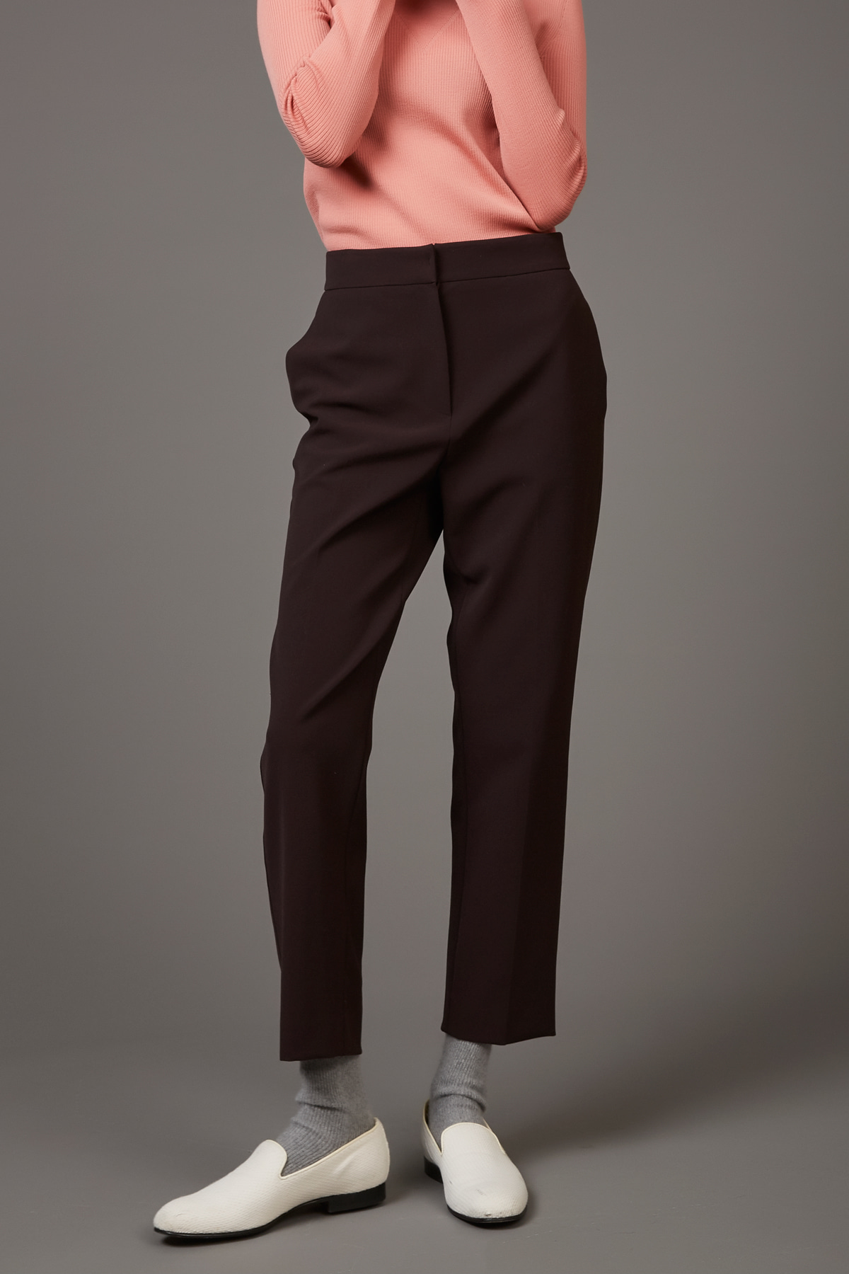 High Waist Taperd Trousers Mahogany