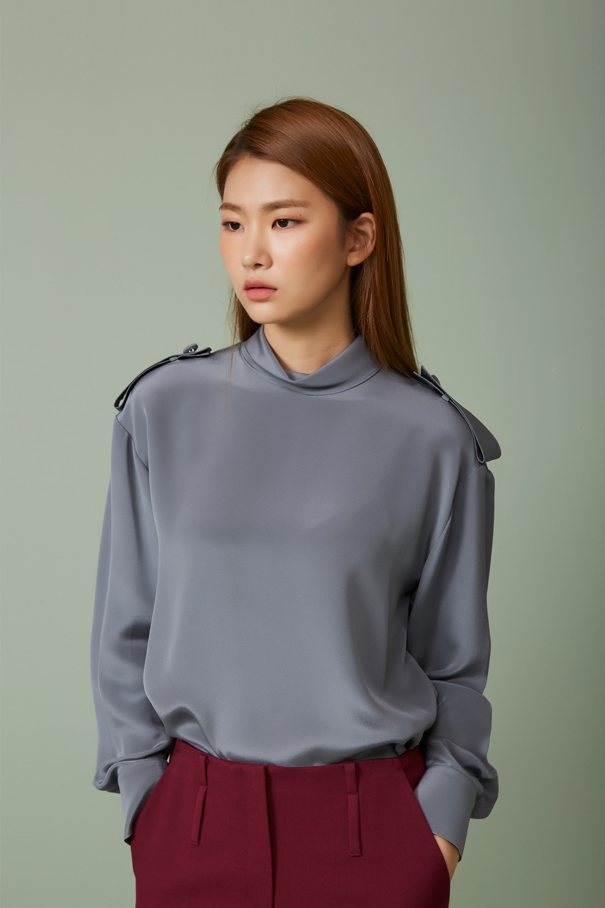 [40%OFF] Over Sized Silk Blouse Titanium