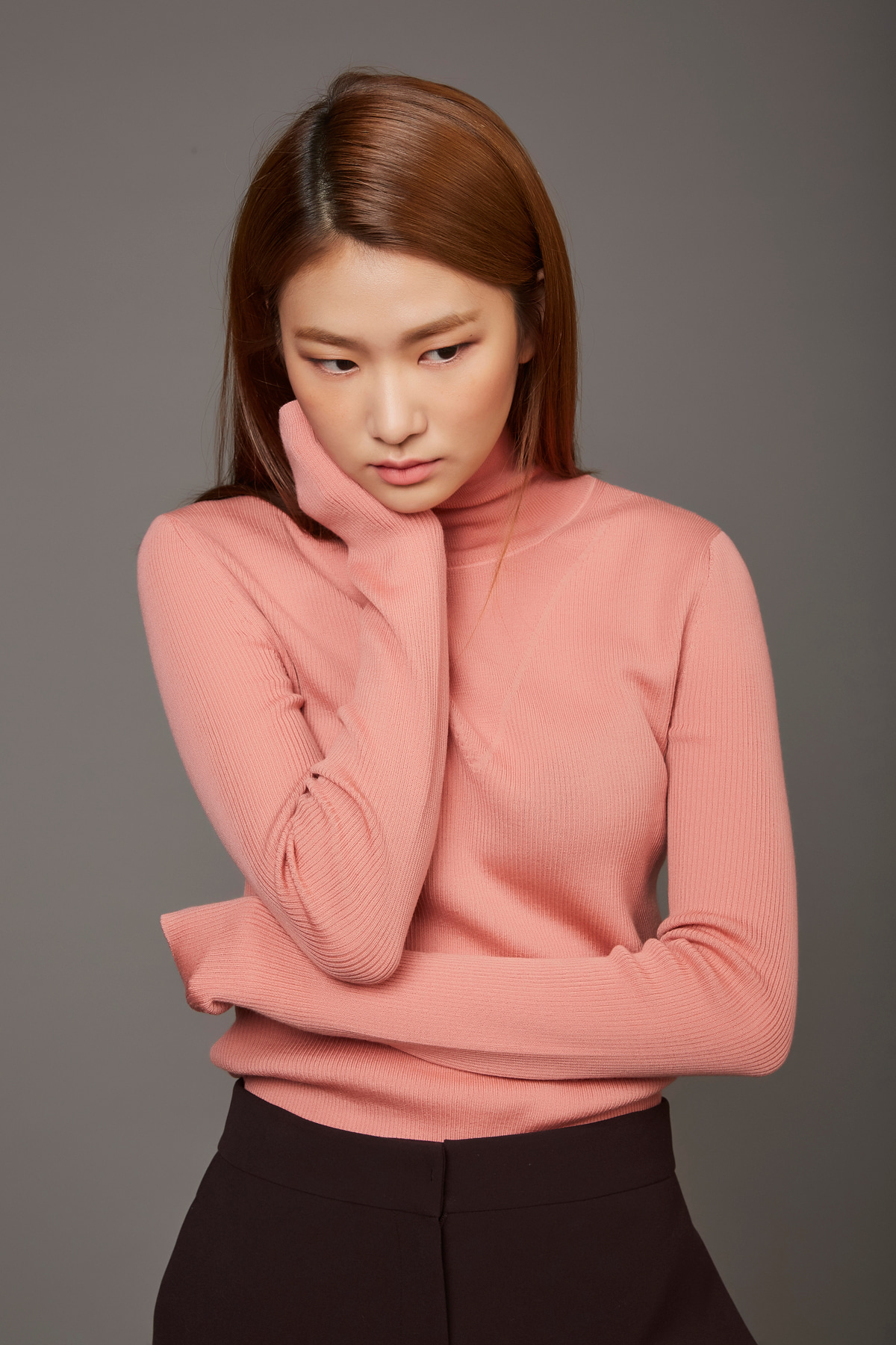 [40%OFF] High Neck Wool Knit Pullover Tea Rose