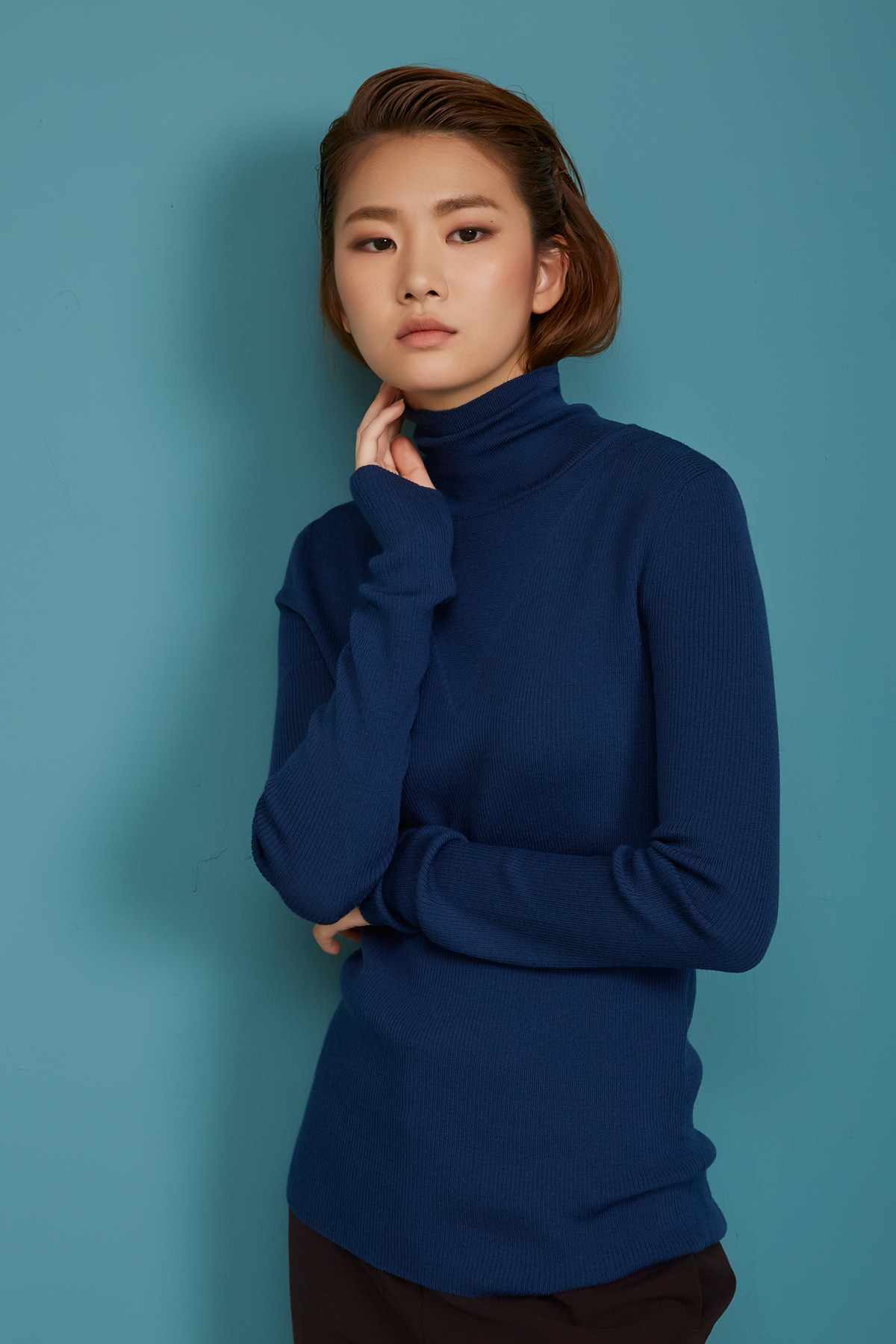 High Neck Wool Knit Pullover Navy Peony