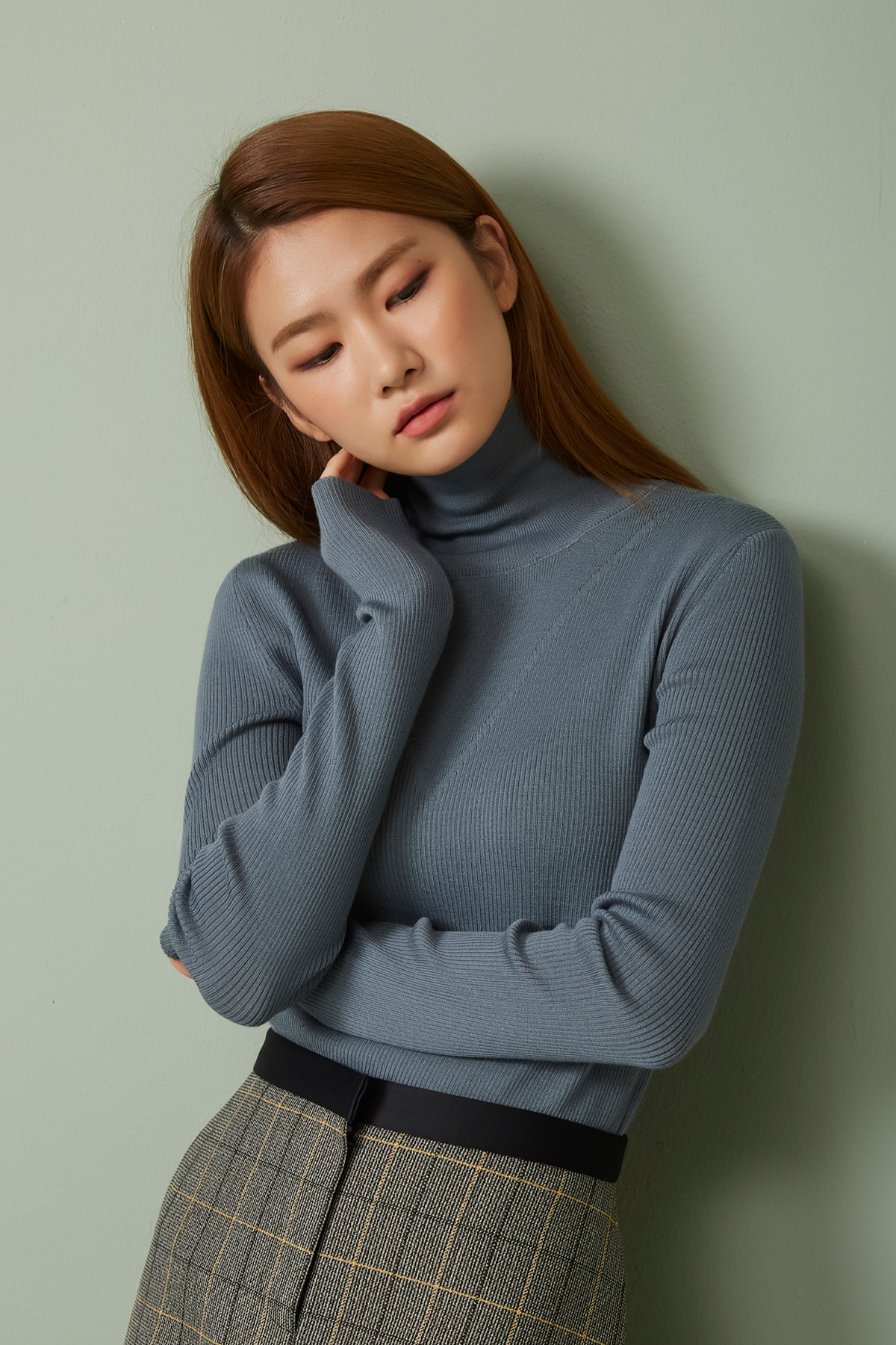 High Neck Wool Knit Pullover Titanium