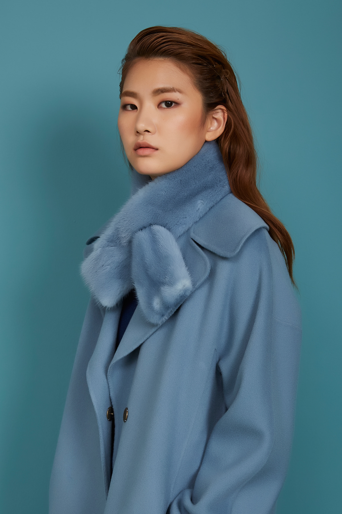 Unicolor Mink Muffler Airy Blue
