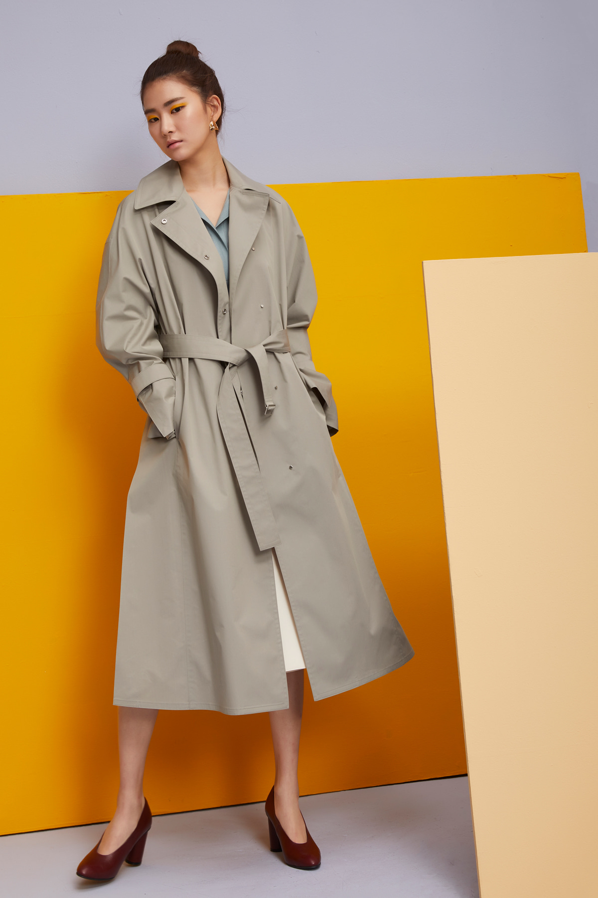 Cotton Blend Long Trench Coat Sage Green