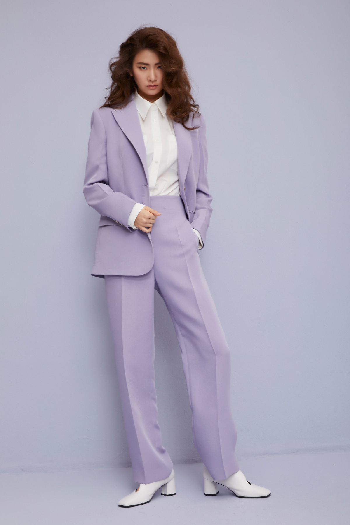 One Button Single-Breasted Blazer Lavender