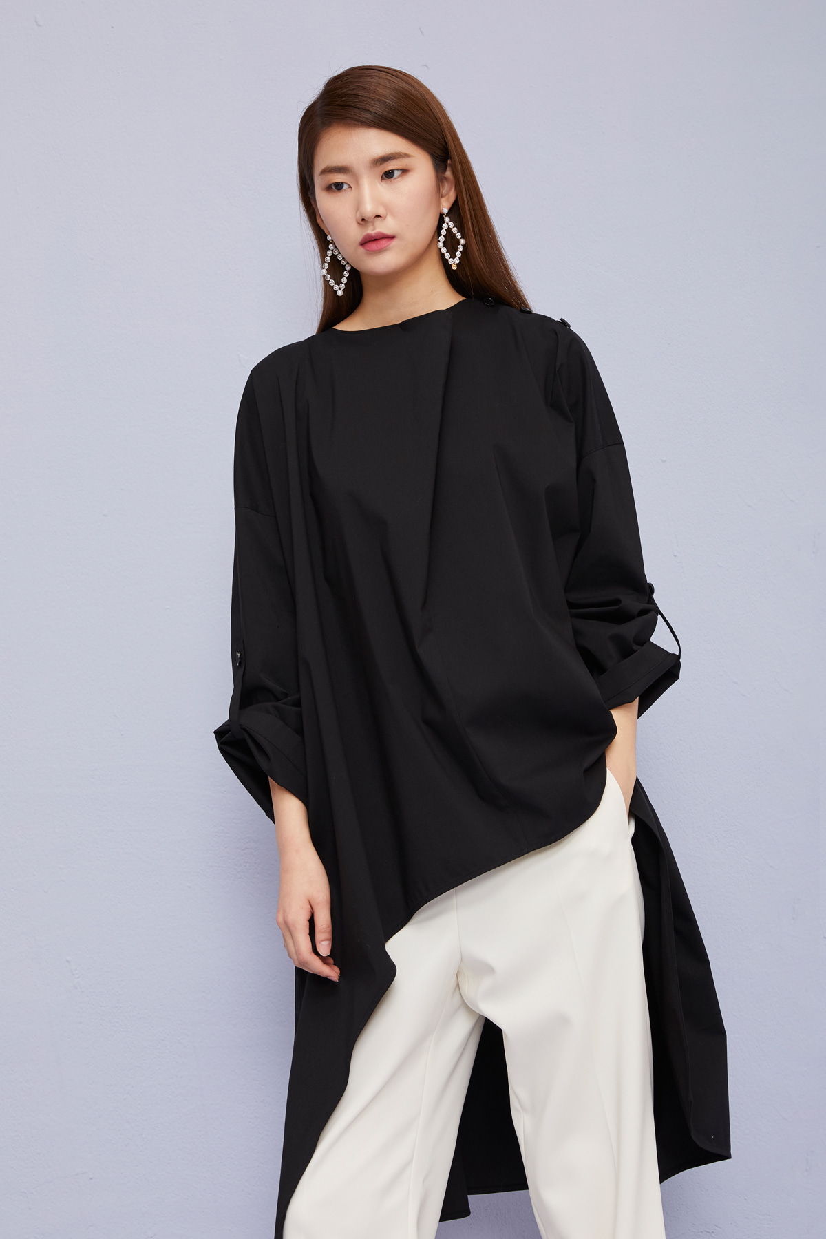 Cowl Collar Oversized Top Black