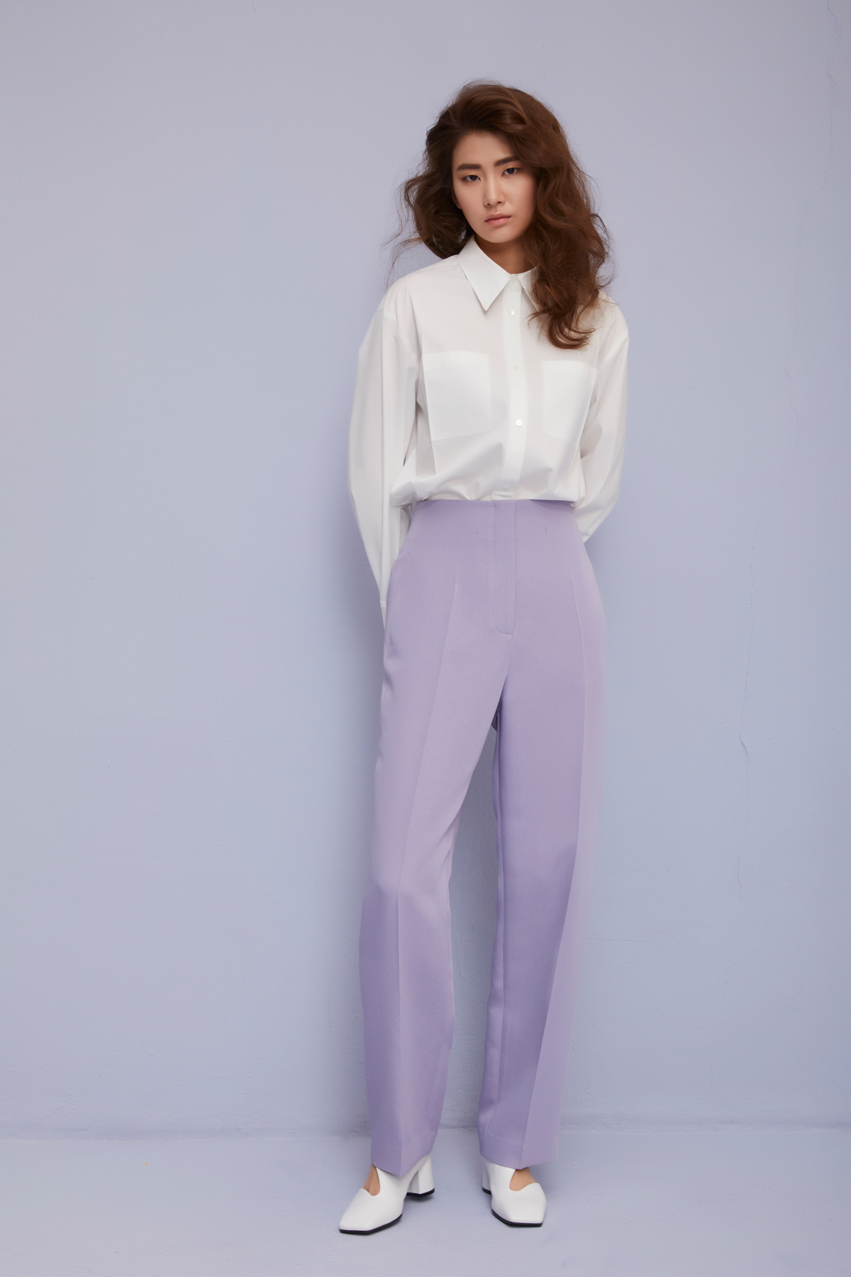 High Waisted Wide-Leg Trousers Lavender