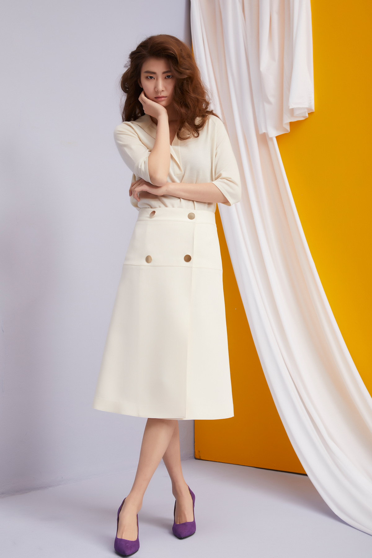 High Waisted A-Line Skirt Ivory