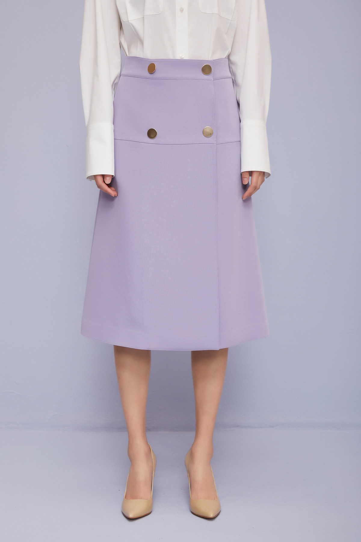 High Waisted A-Line Skirt Lavender