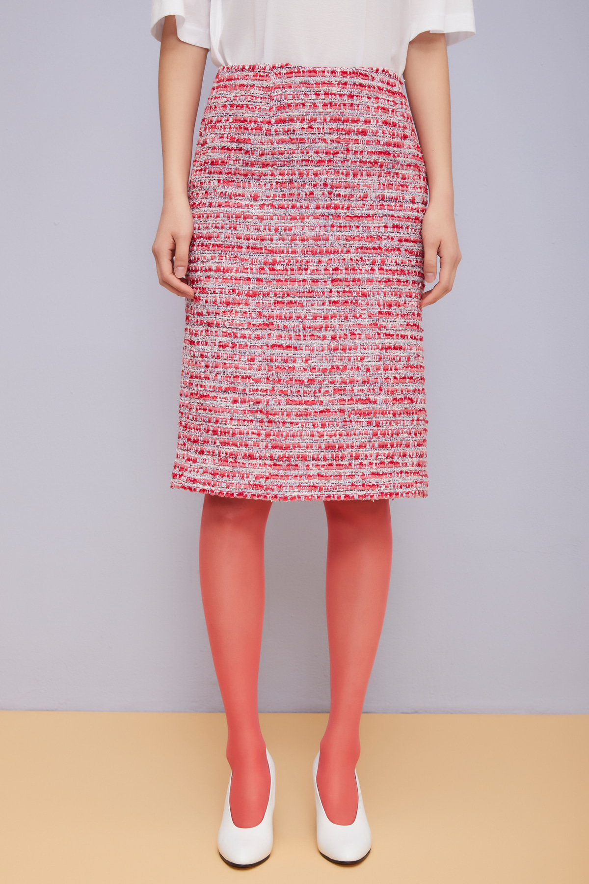 One Side Open Tweed Skirt Neon Punch