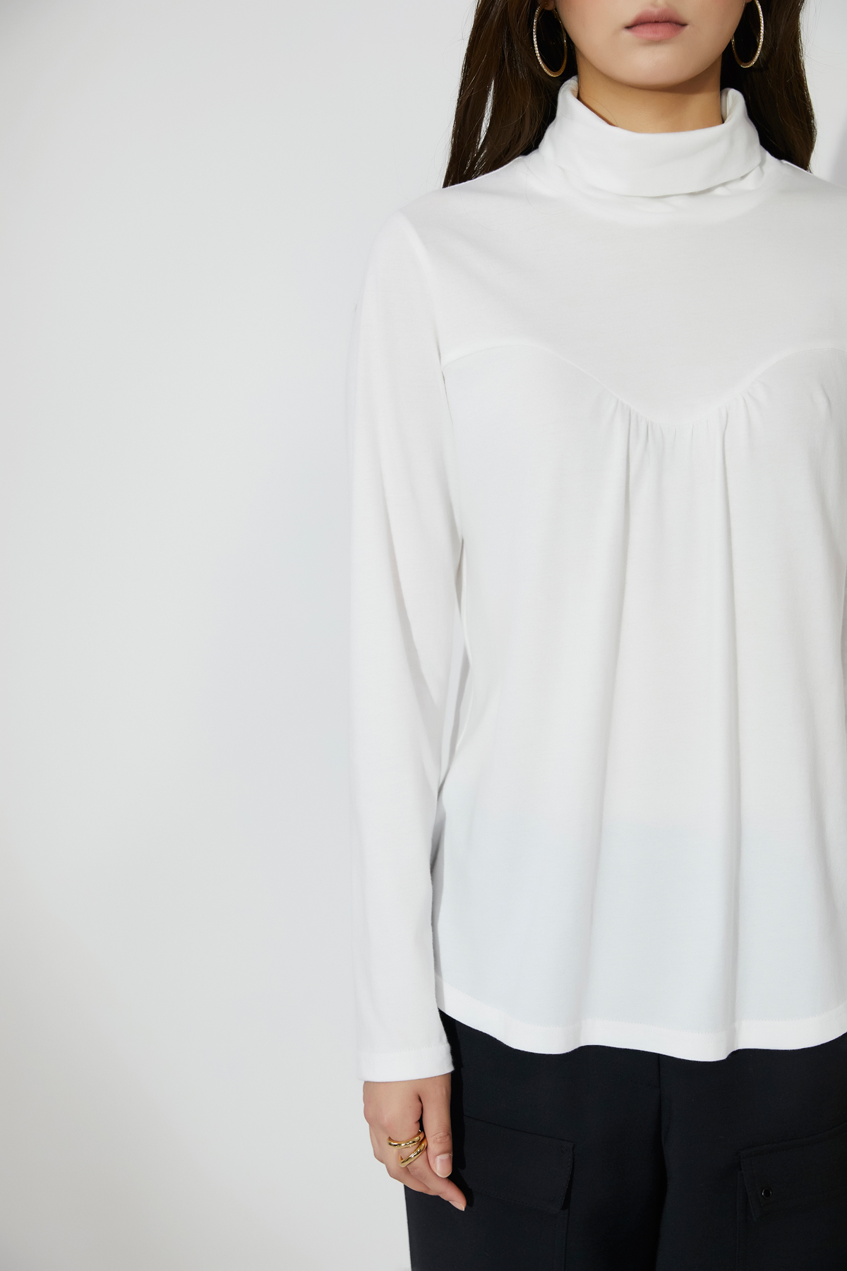 Shirring High Neck Jersey Top Ivory