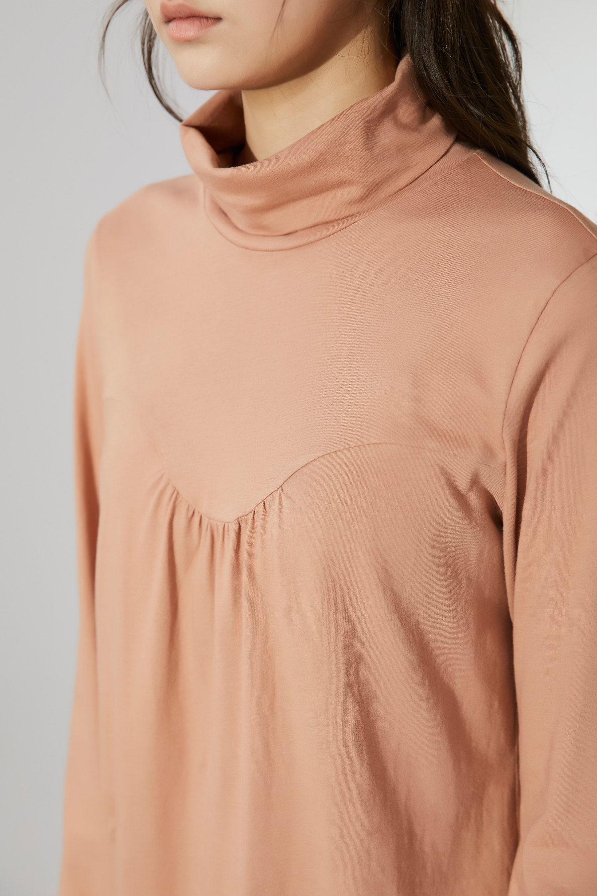 Shirring High Neck Jersey Top Peach