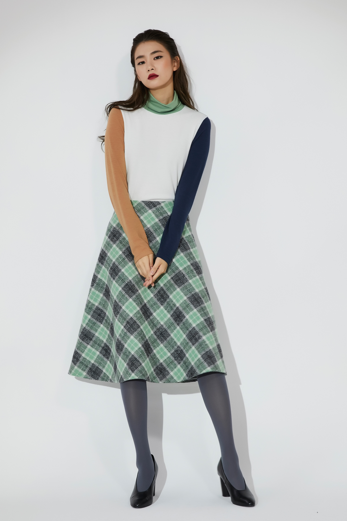 Fluid A Line Tartan Check Skirt Green