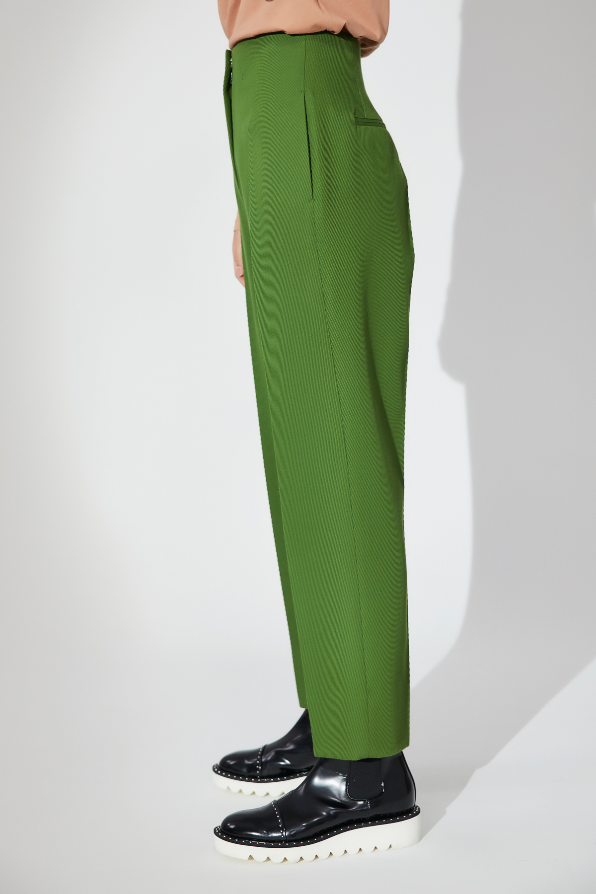 High Waisted Tapered Trousers Green