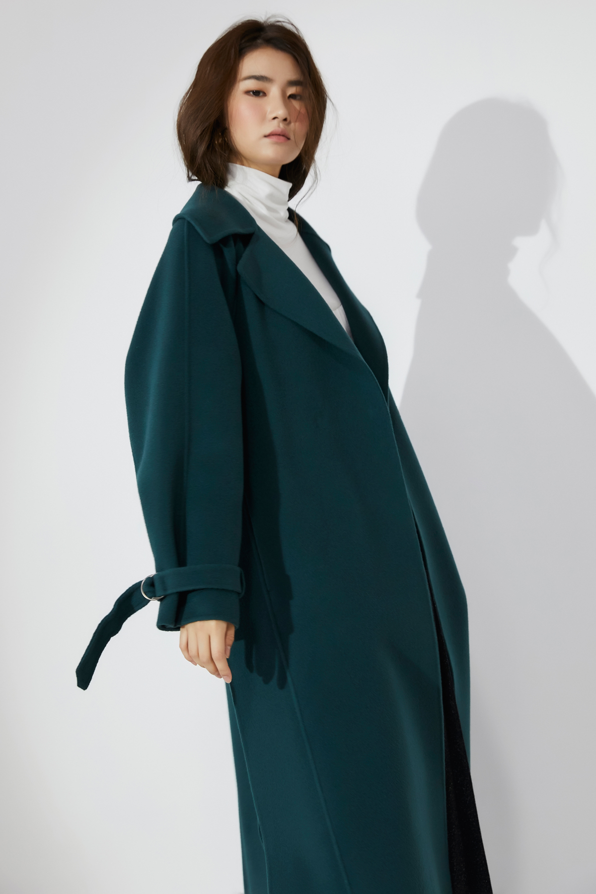 Volumed Sleeves Handmade Coat Turquoise