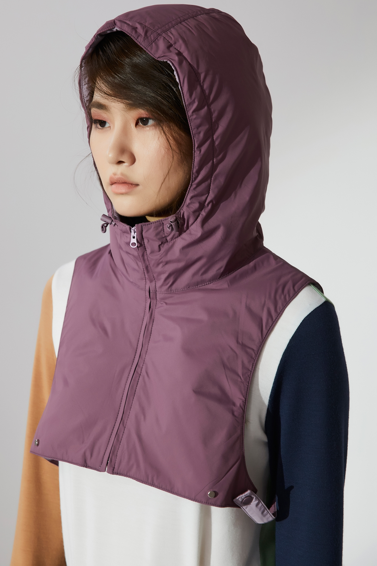 Color Block Hooded Vest Purple