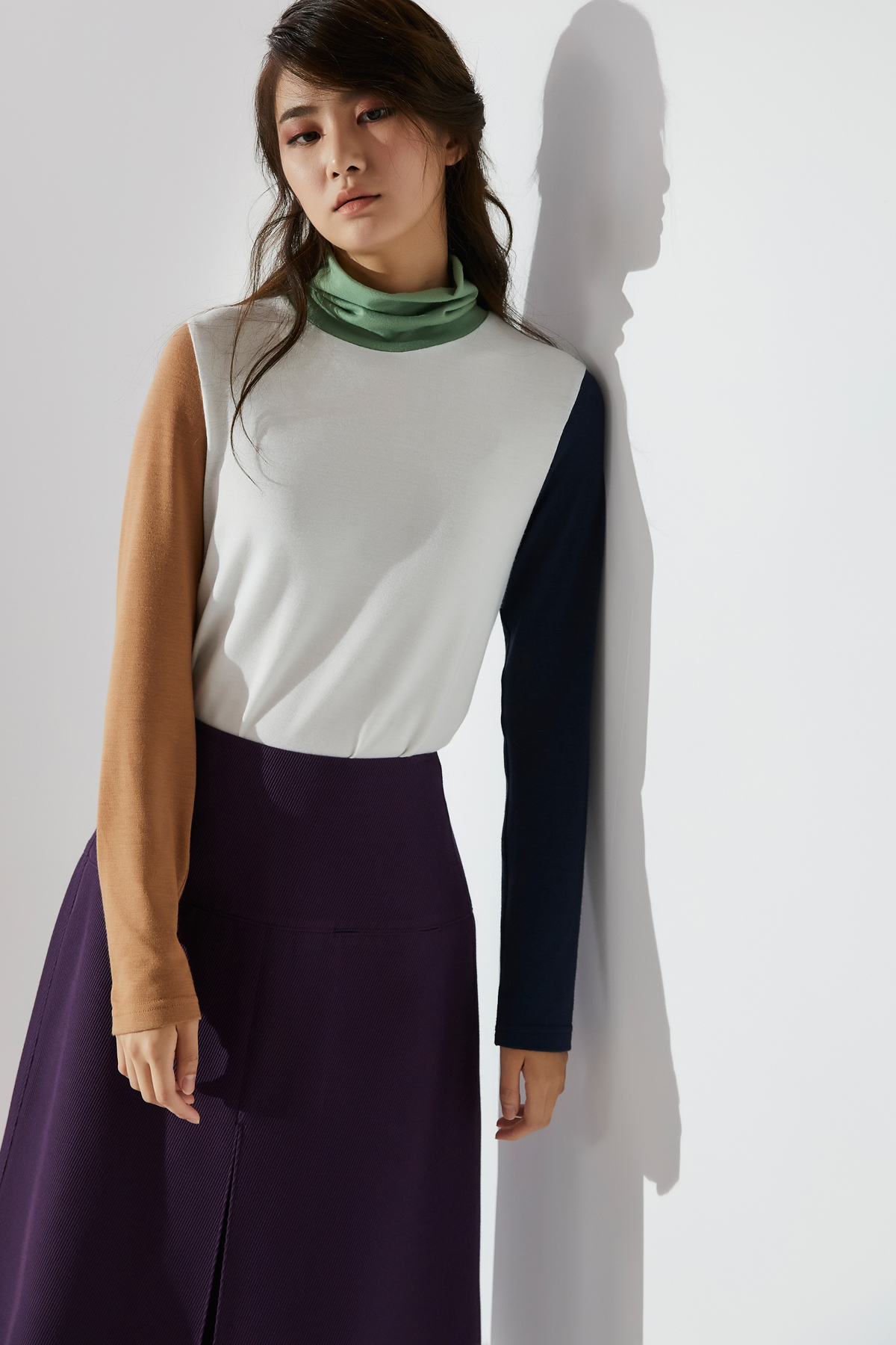 Color Block High Neck Jersey Ivory