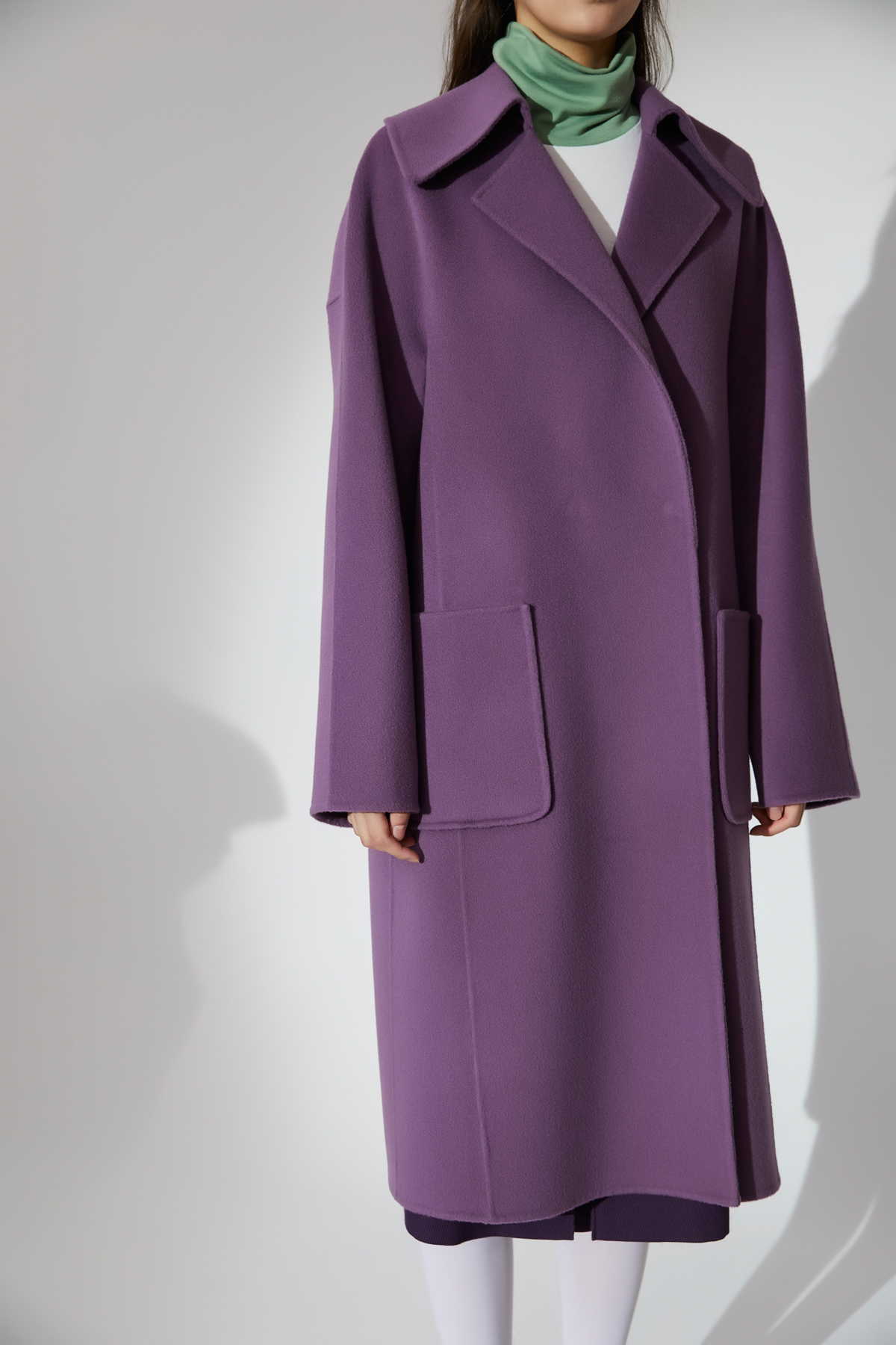 Outpocket Oversized Handmade Coat Purple