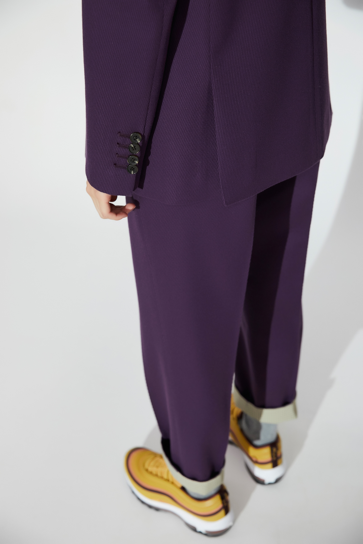 High Waisted Tapered Trousers Purple