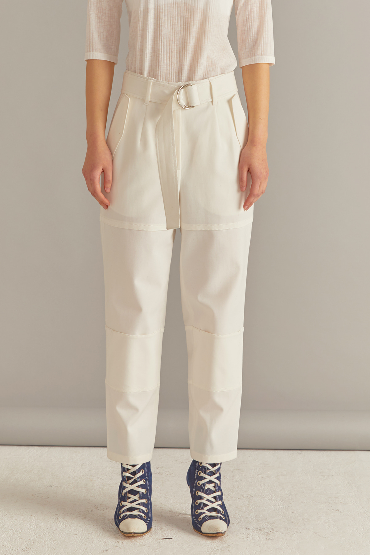 Hooded Knee Pocket Trousers with Belt White