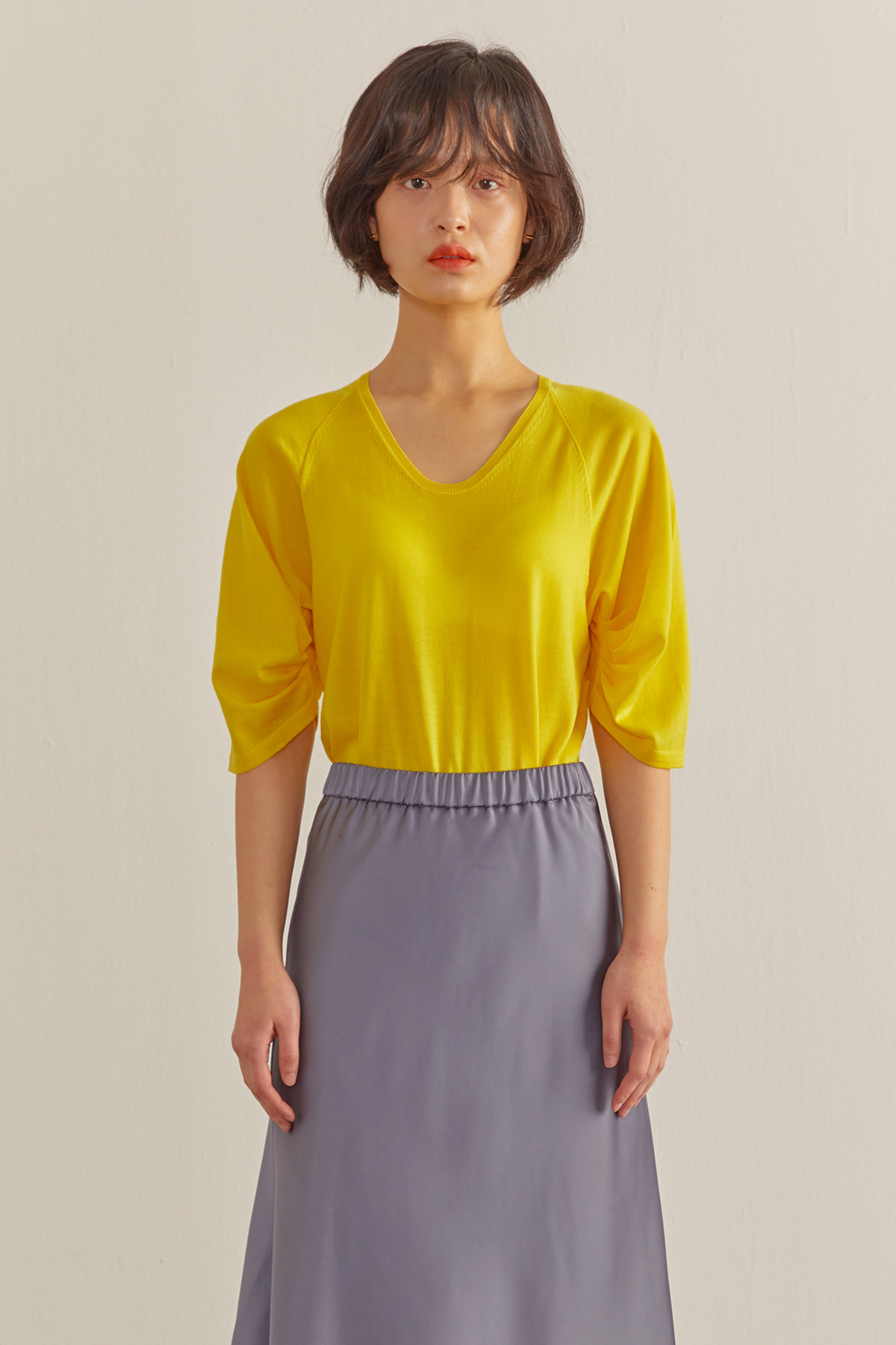 Volumed Sleeves Cashmere Pullover Yellow
