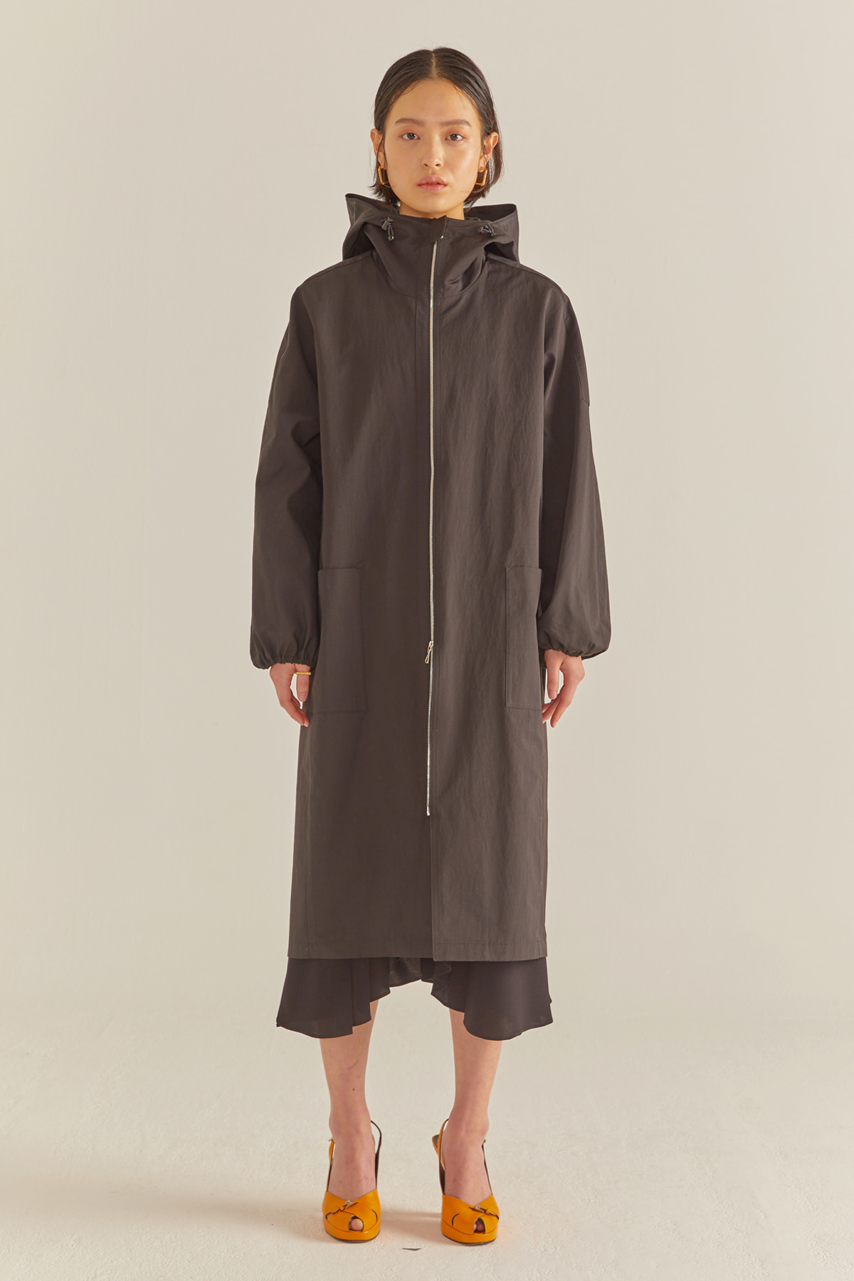 Coccoon Two-way Zip Coat Black