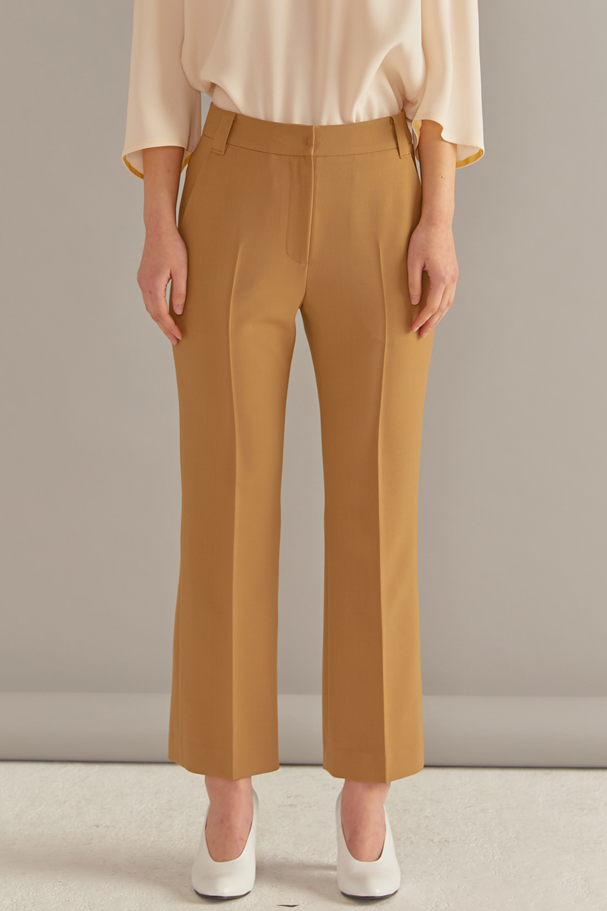 Stretchy Bootcut Trousers Camel