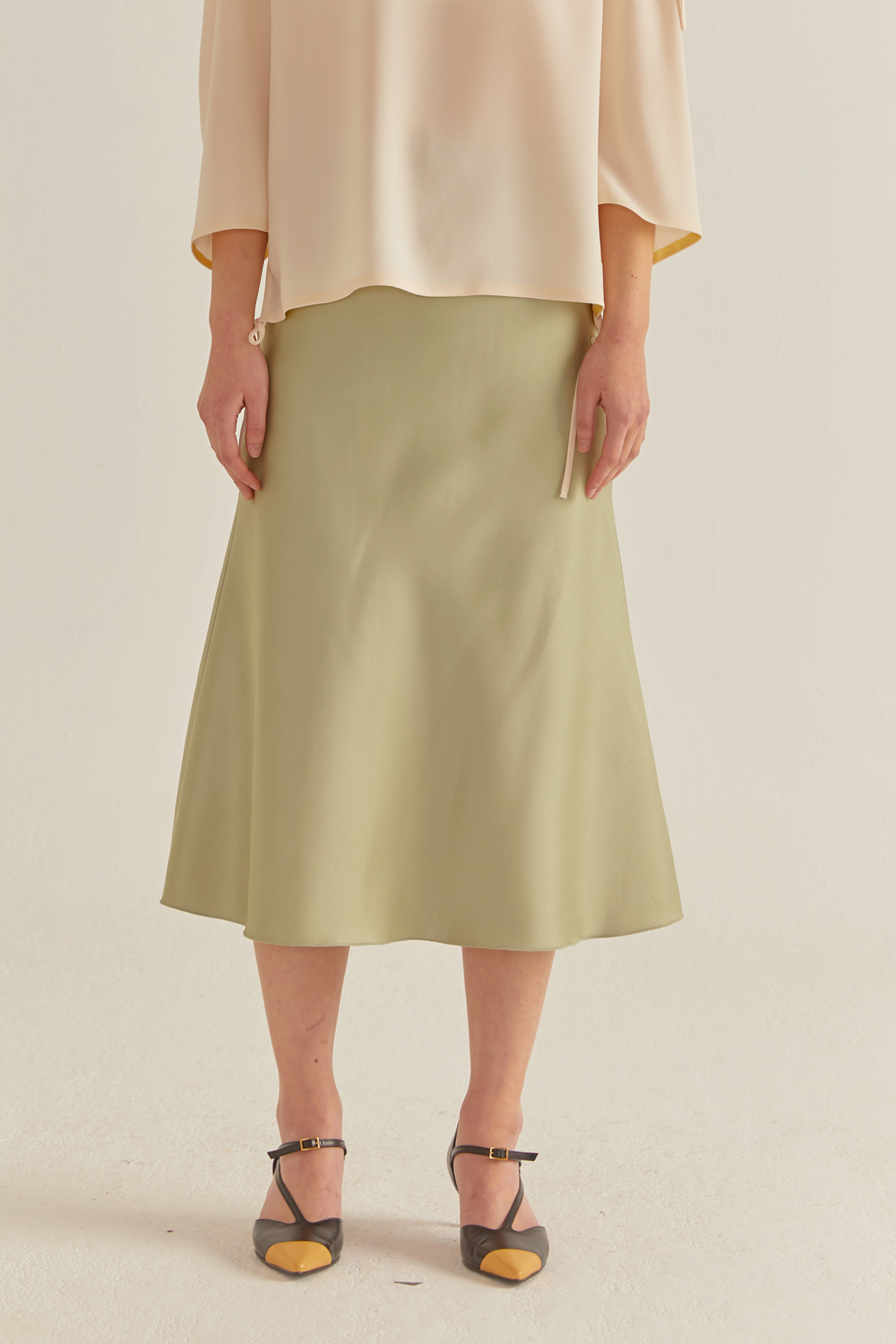 Bias Cut Flared Banded Skirt Mint