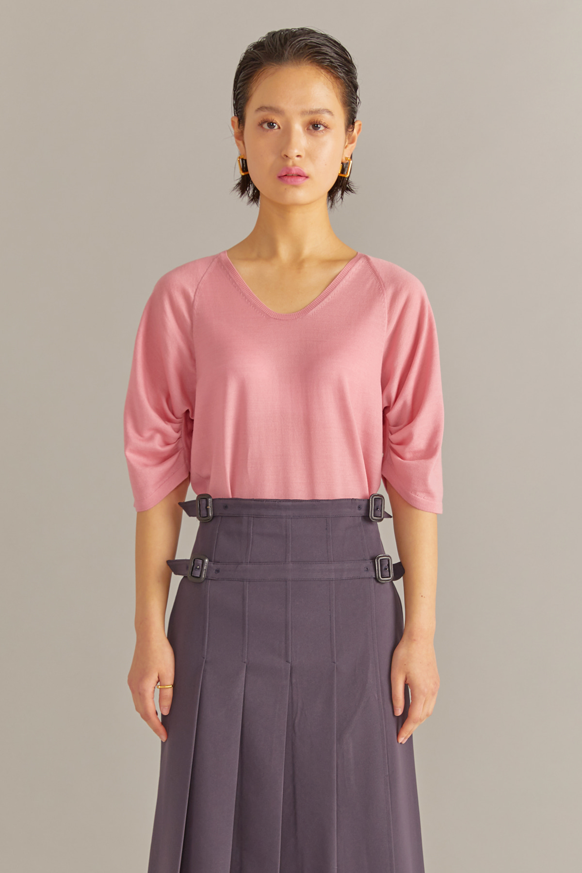 Volumed Sleeves Cashmere Pullover Pink