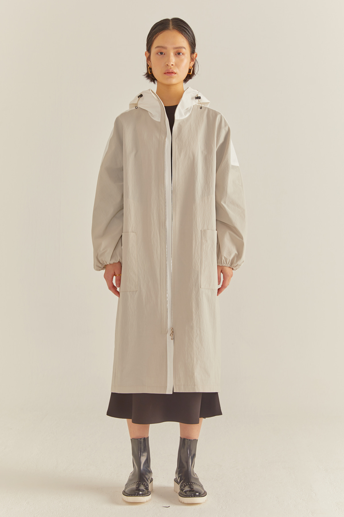 Coccoon Two-way Zip Coat Light Grey