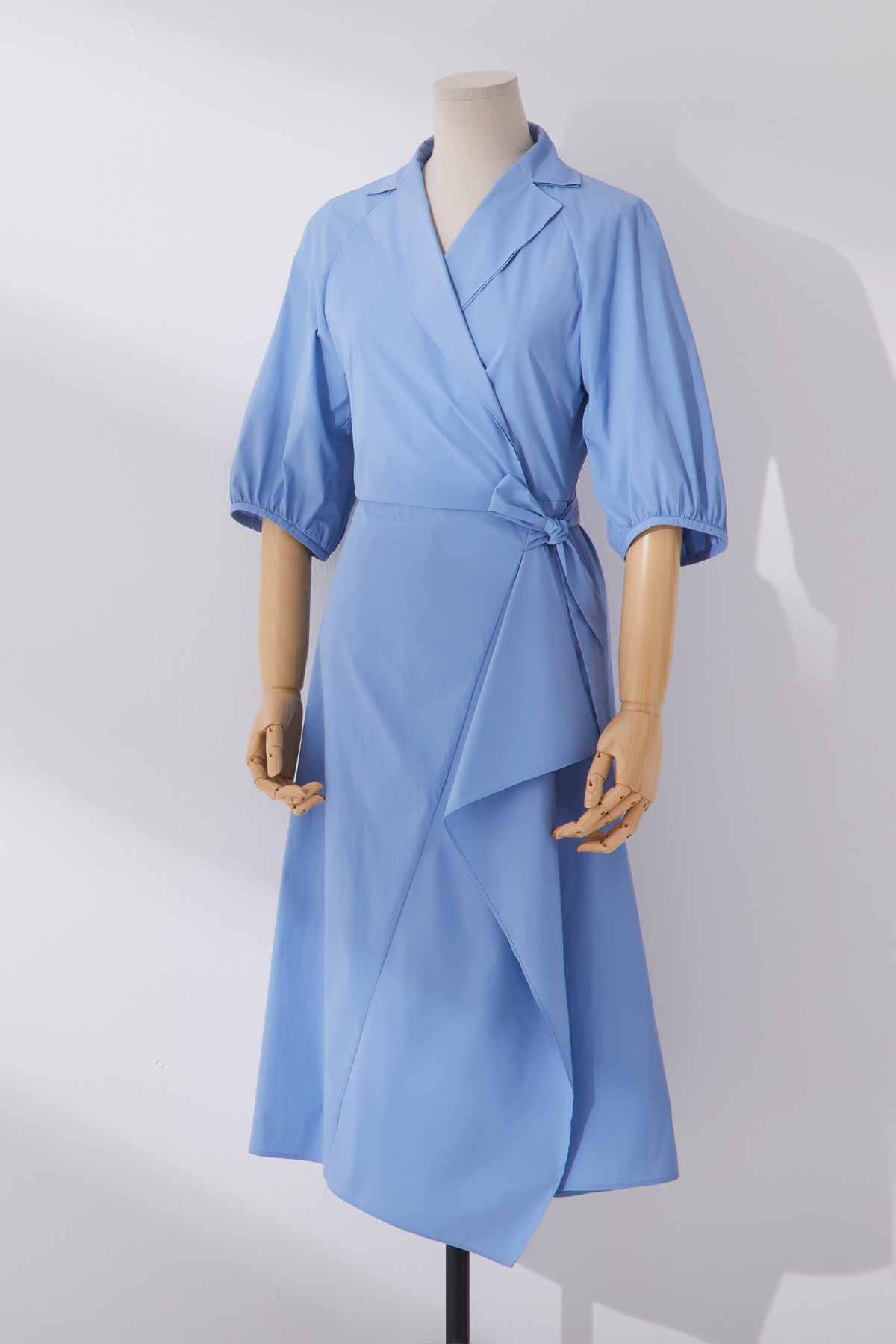 Volumned Sleeve Wrap Dress Sky Blue