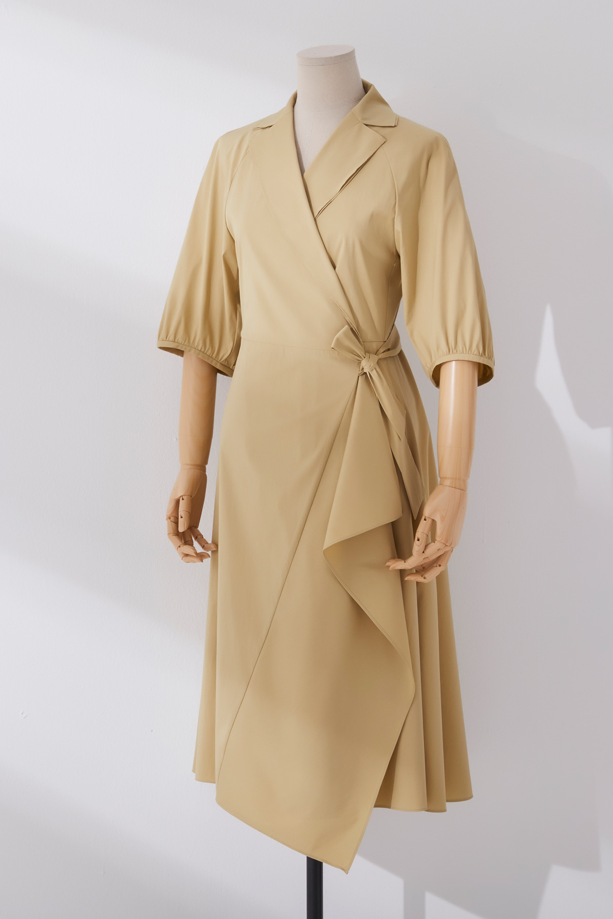 Volumned Sleeve Wrap Dress Champagne Beige