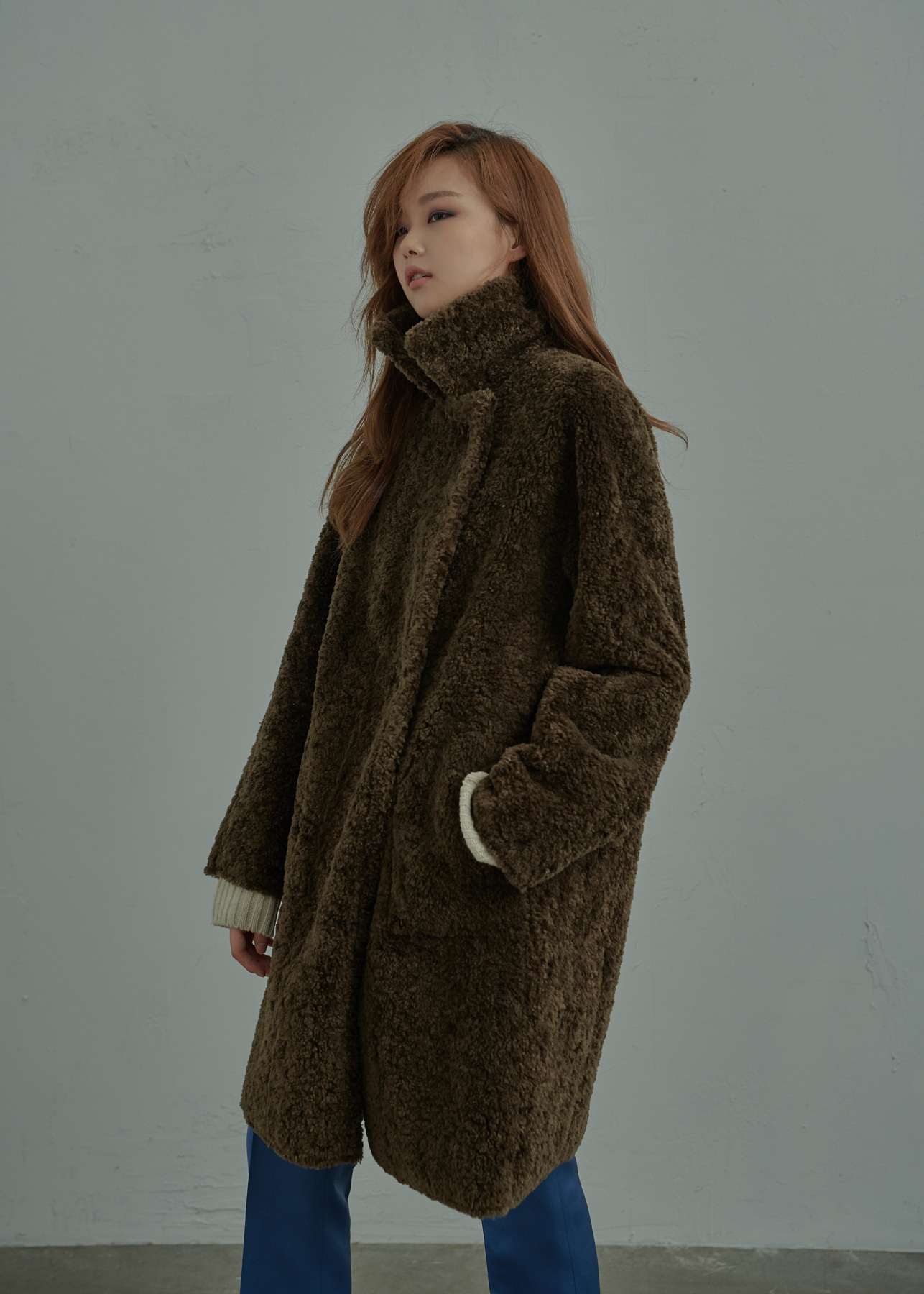 Shearling Textured Oversized Reverible Coat Khaki [REVERSE]