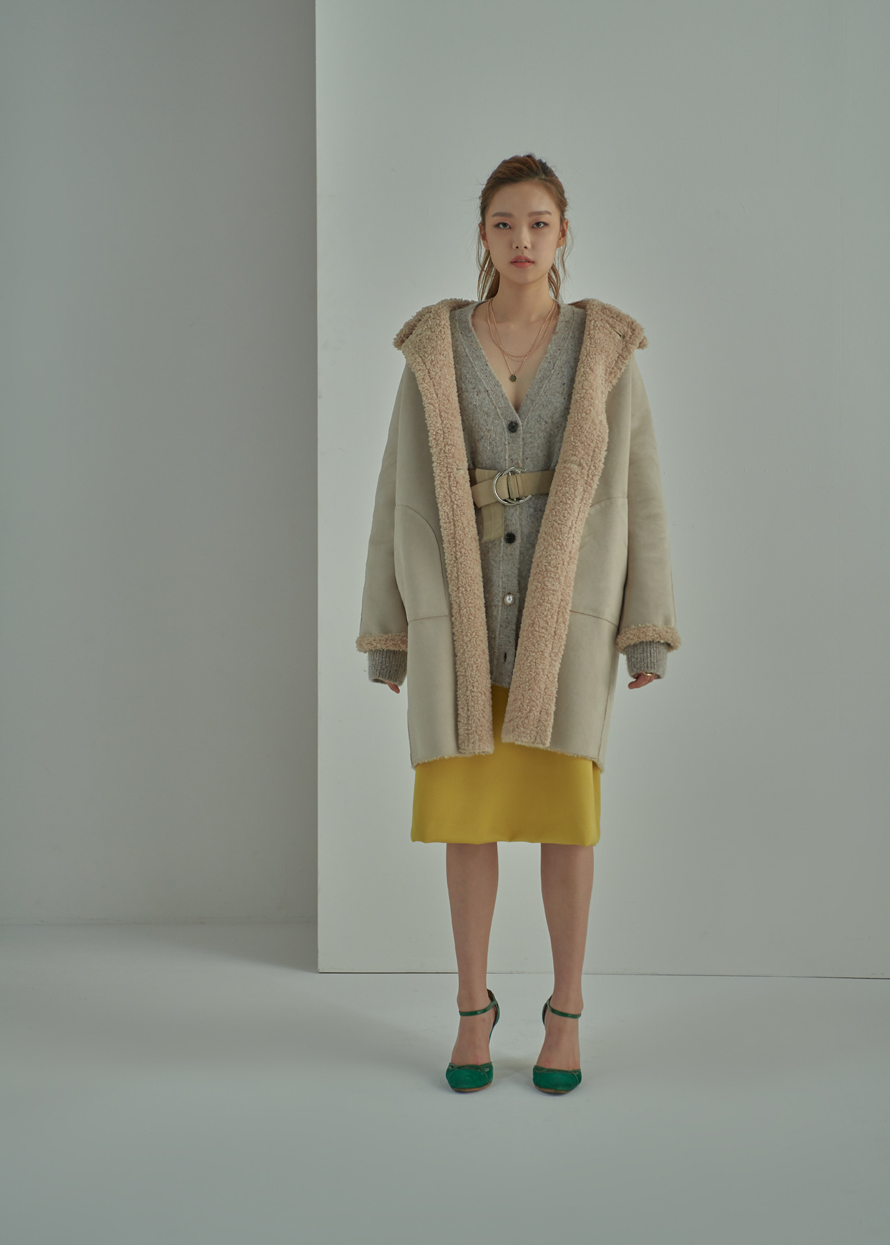 Faux Leather Shearling Oversized Reverible Coat Light Beige
