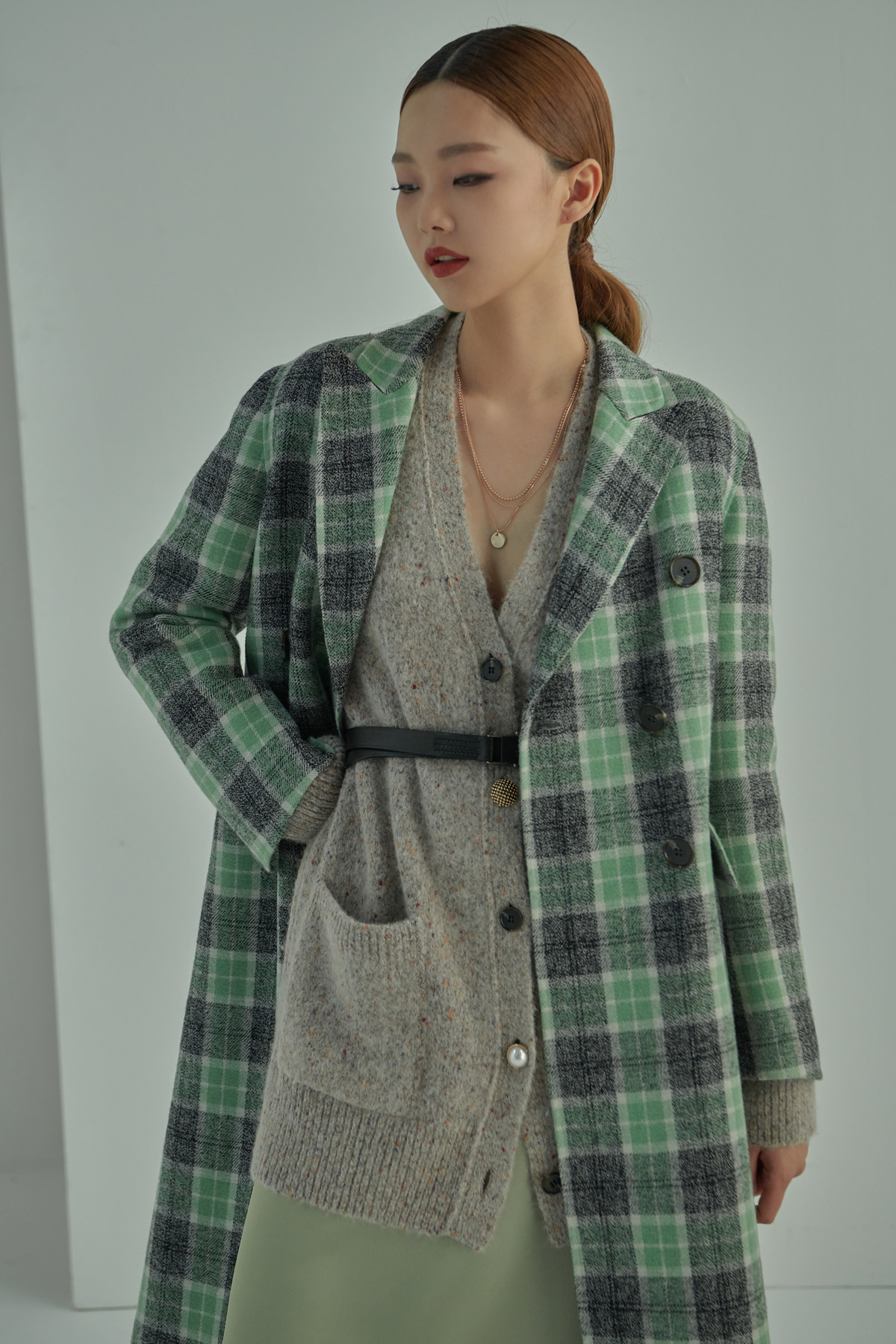 Double Breasted Handmade Tartan Check Coat Green